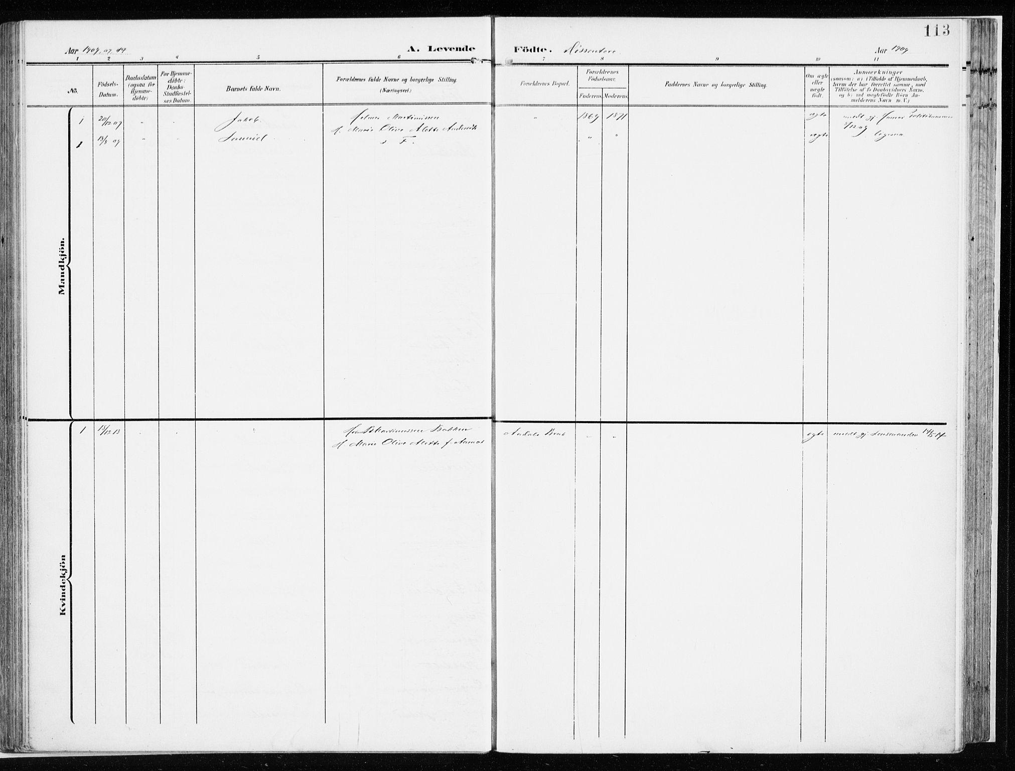 SAH, Løten prestekontor, K/Ka/L0011: Ministerialbok nr. 11, 1908-1917, s. 113