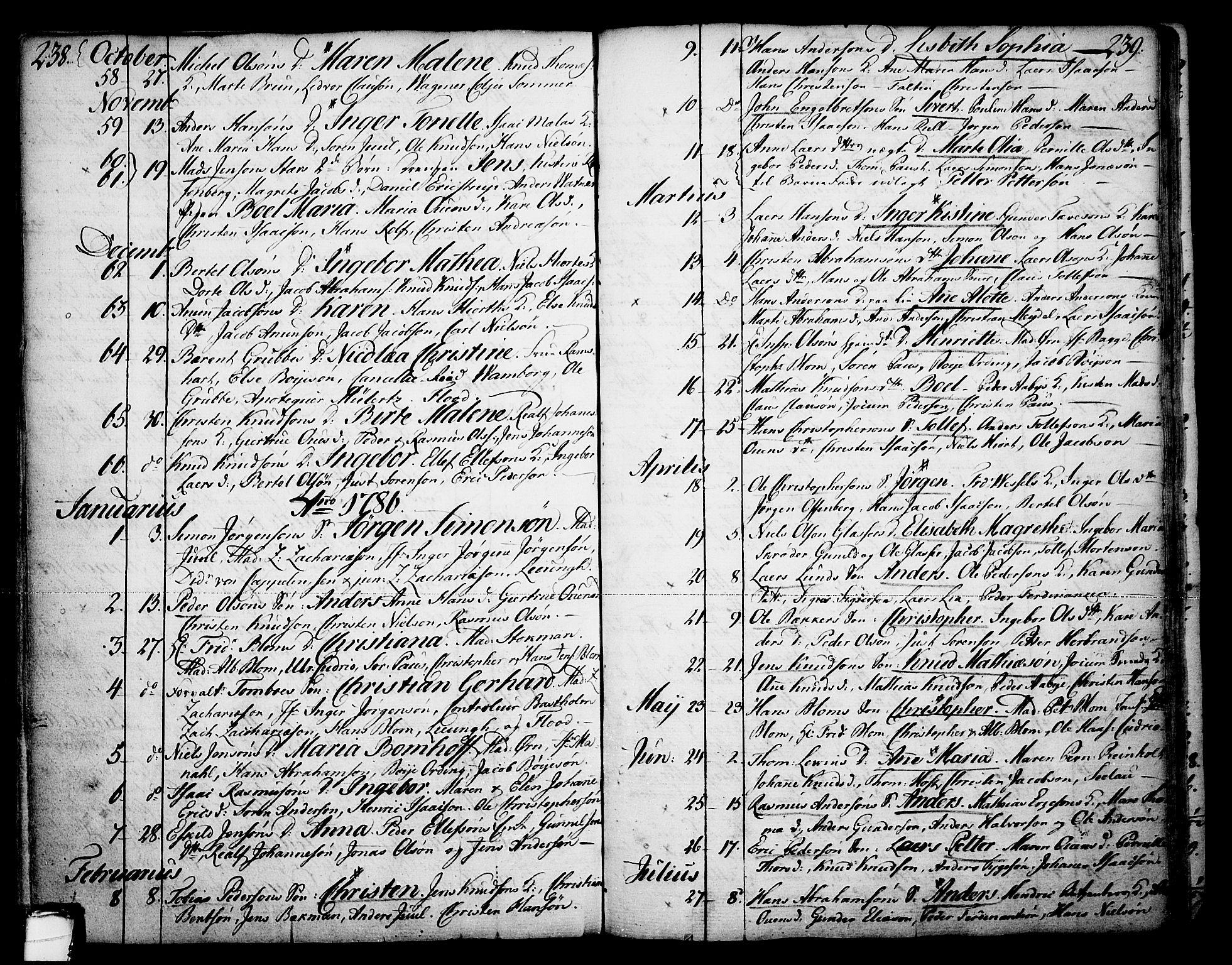 SAKO, Skien kirkebøker, F/Fa/L0003: Ministerialbok nr. 3, 1755-1791, s. 238-239