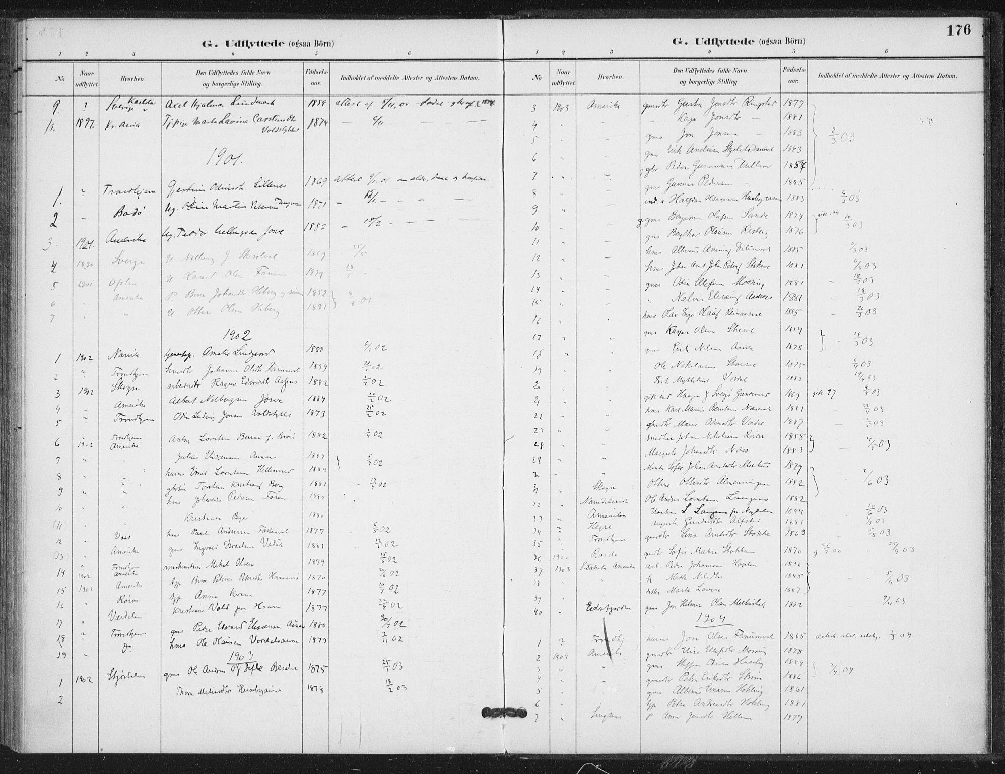 SAT, Ministerialprotokoller, klokkerbøker og fødselsregistre - Nord-Trøndelag, 714/L0131: Ministerialbok nr. 714A02, 1896-1918, s. 176