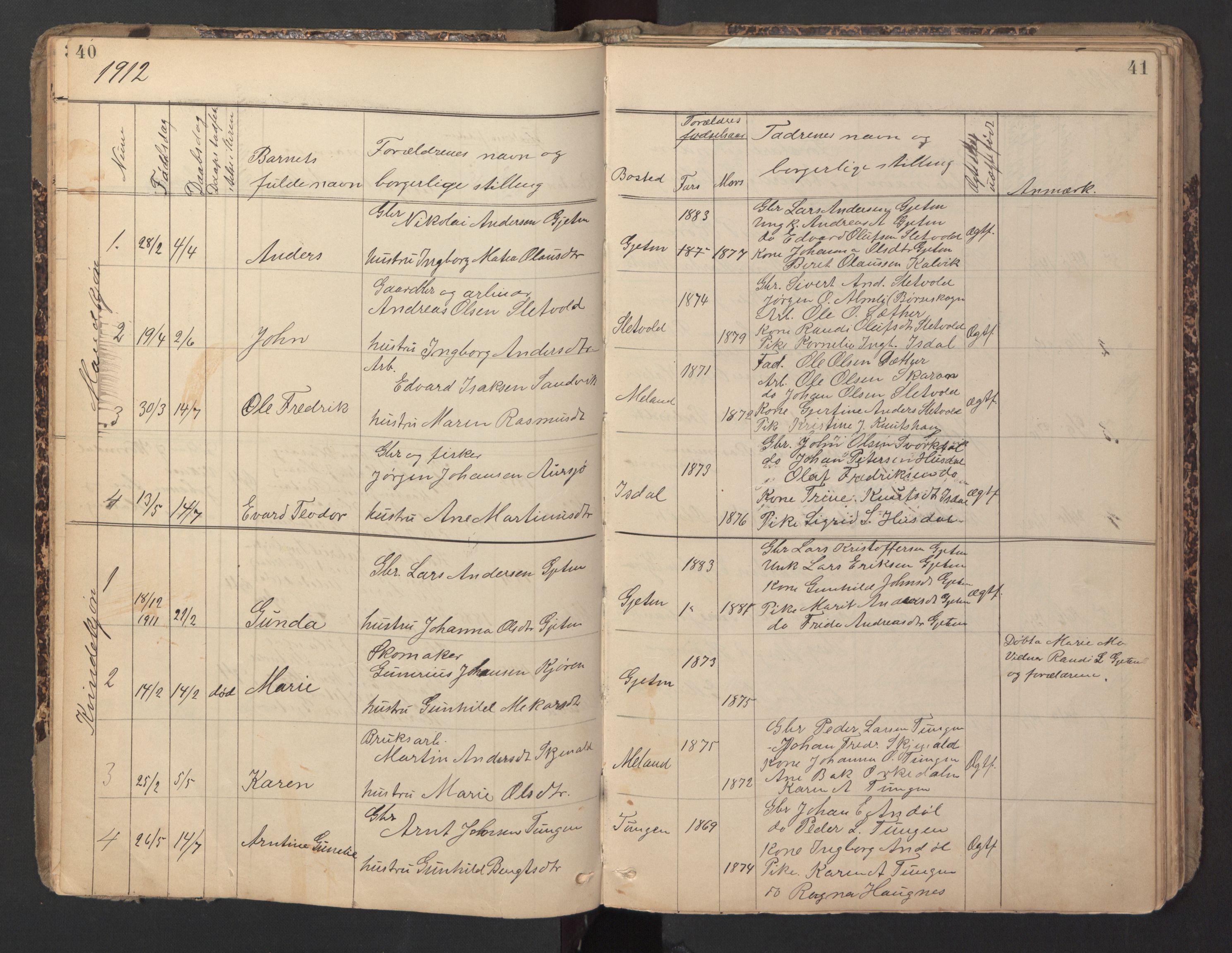SAT, Ministerialprotokoller, klokkerbøker og fødselsregistre - Sør-Trøndelag, 670/L0837: Klokkerbok nr. 670C01, 1905-1946, s. 40-41