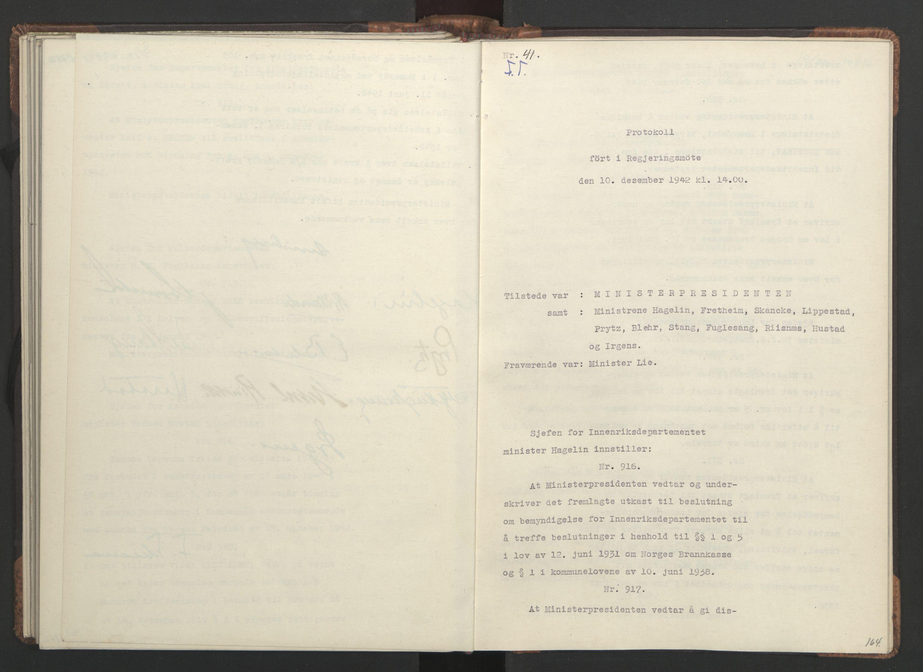 RA, NS-administrasjonen 1940-1945 (Statsrådsekretariatet, de kommisariske statsråder mm), D/Da/L0001: Beslutninger og tillegg (1-952 og 1-32), 1942, s. 163b-164a