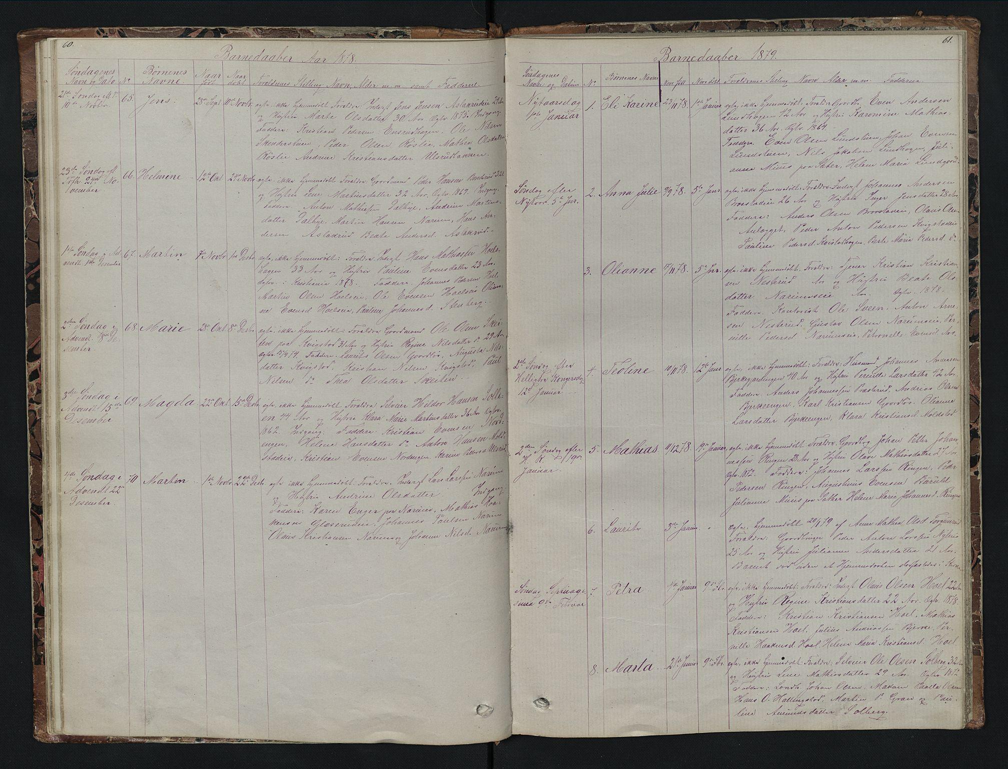 SAH, Vestre Toten prestekontor, H/Ha/Hab/L0007: Klokkerbok nr. 7, 1872-1900, s. 60-61