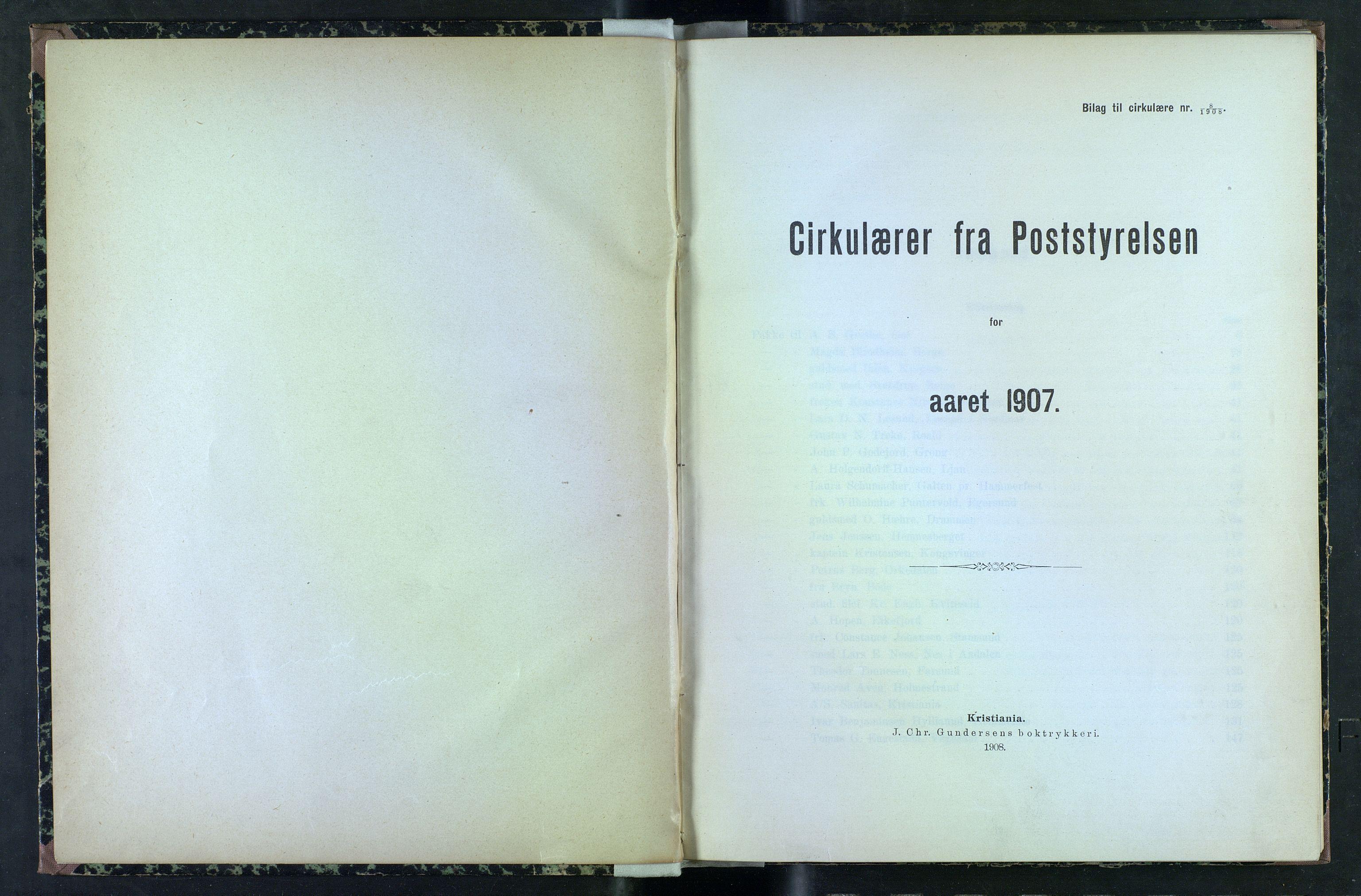 NOPO, Norges Postmuseums bibliotek, -/-: Sirkulærer fra Poststyrelsen, 1907