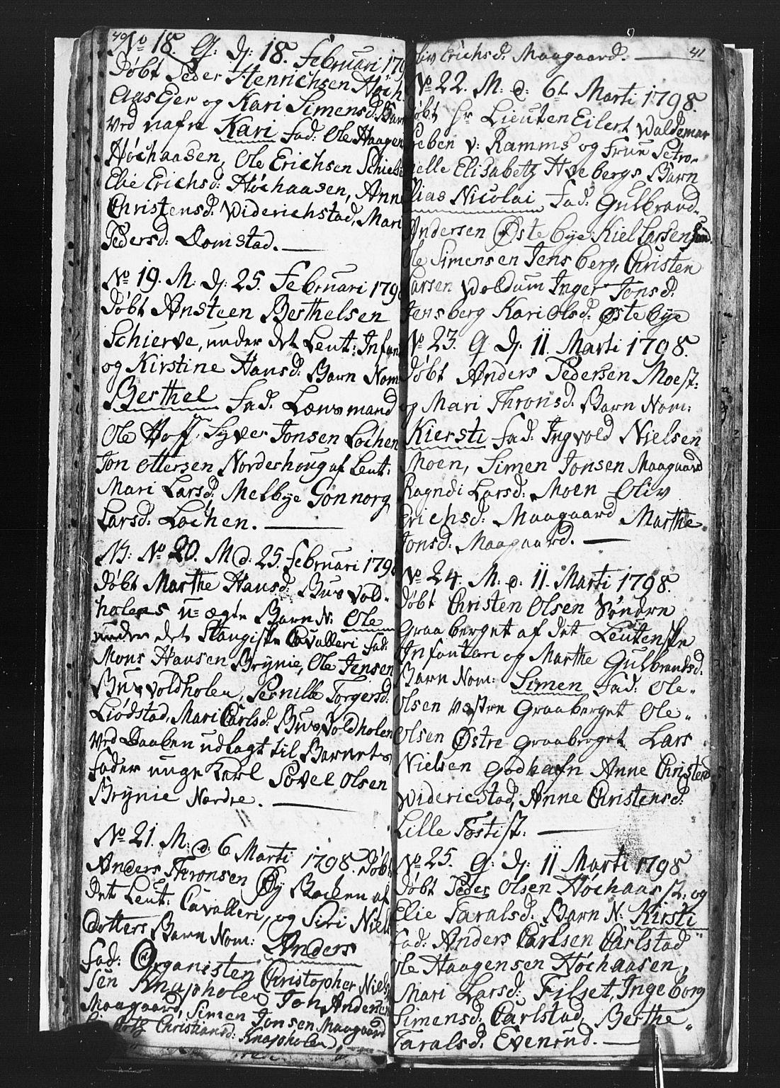 SAH, Romedal prestekontor, L/L0002: Klokkerbok nr. 2, 1795-1800, s. 40-41