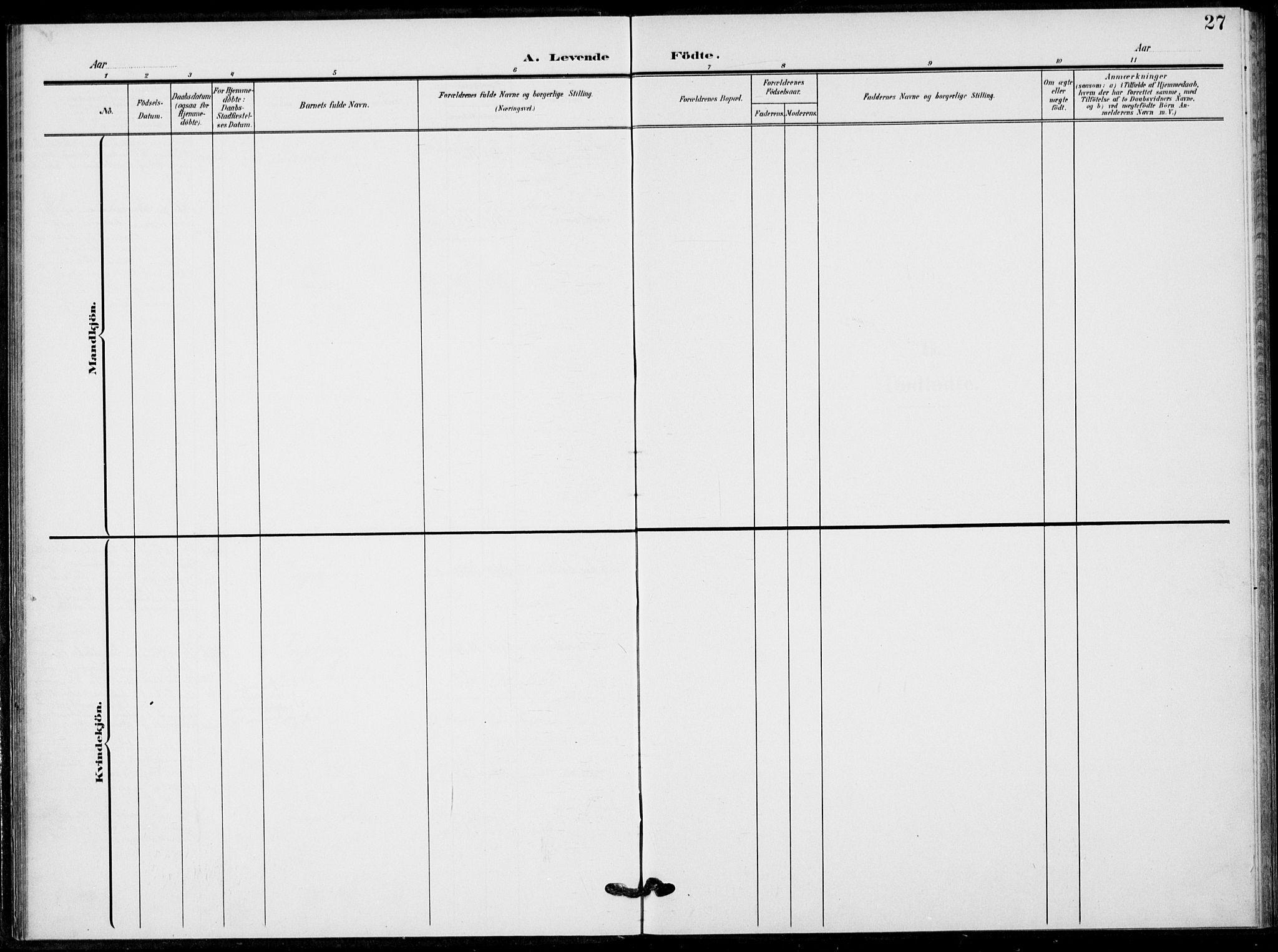 SAKO, Fyresdal kirkebøker, F/Fb/L0004: Ministerialbok nr. II 4, 1903-1920, s. 27