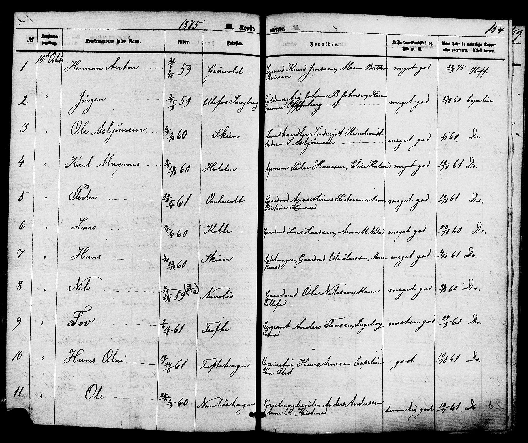 SAKO, Holla kirkebøker, F/Fa/L0007: Ministerialbok nr. 7, 1869-1881, s. 154