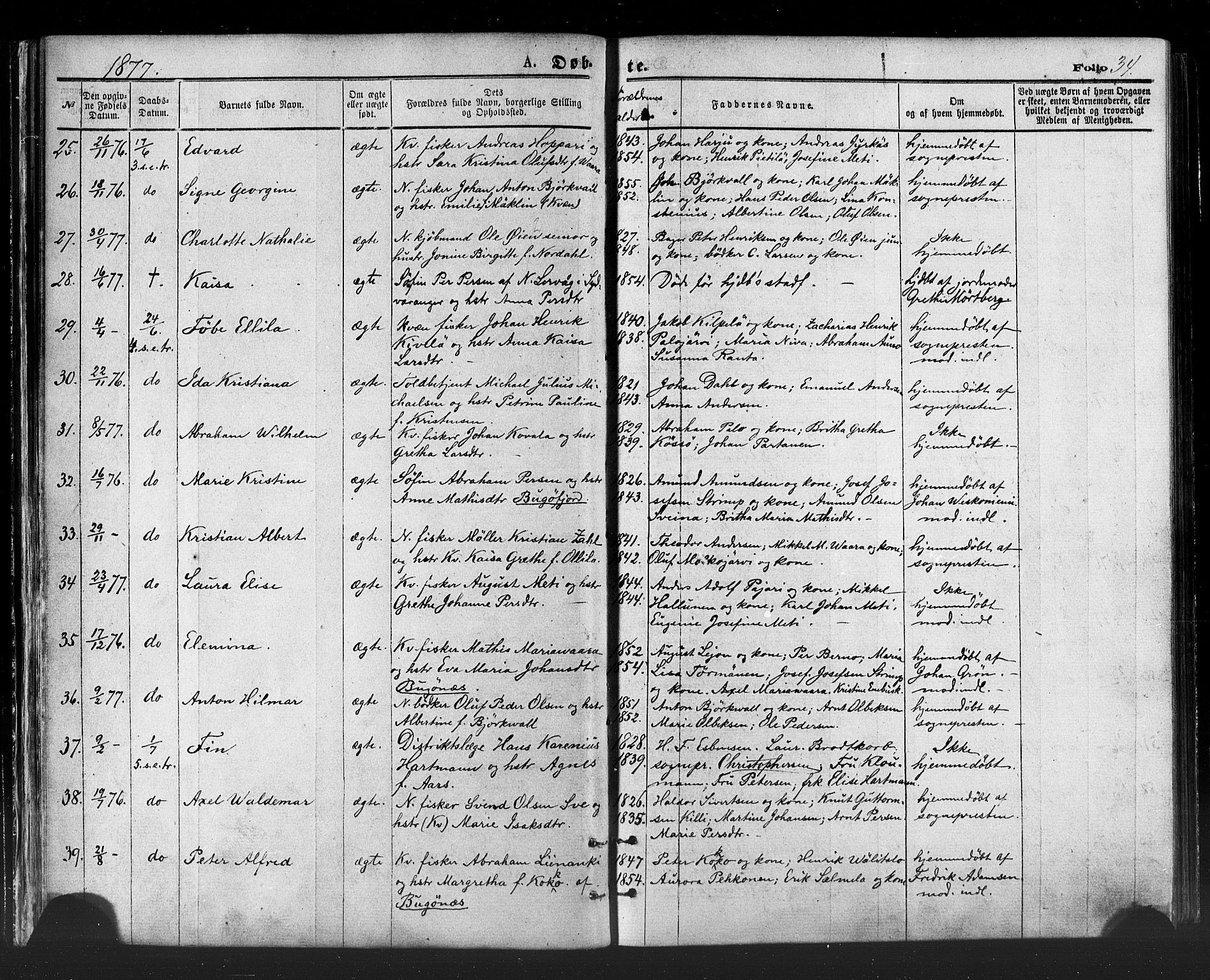 SATØ, Vadsø sokneprestkontor, H/Ha/L0005kirke: Ministerialbok nr. 5, 1873-1884, s. 34
