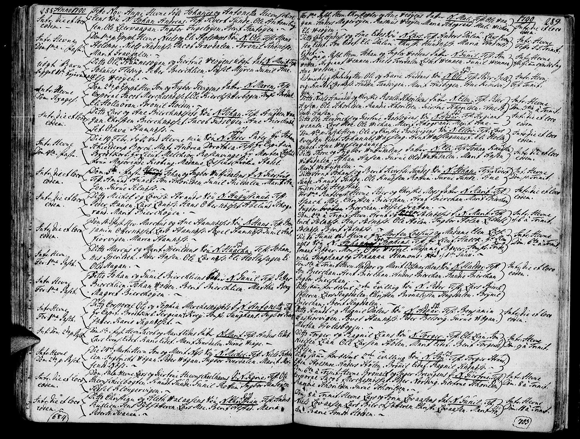 SAT, Ministerialprotokoller, klokkerbøker og fødselsregistre - Sør-Trøndelag, 630/L0489: Ministerialbok nr. 630A02, 1757-1794, s. 288-289