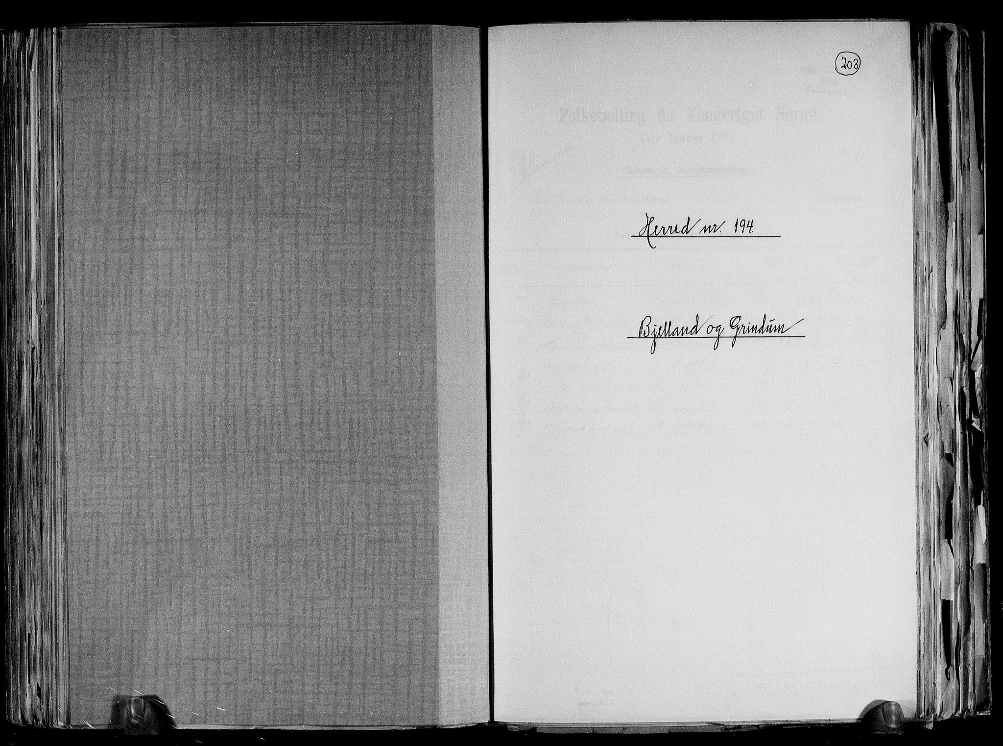 RA, Folketelling 1891 for 1024 Bjelland og Grindheim herred, 1891, s. 1