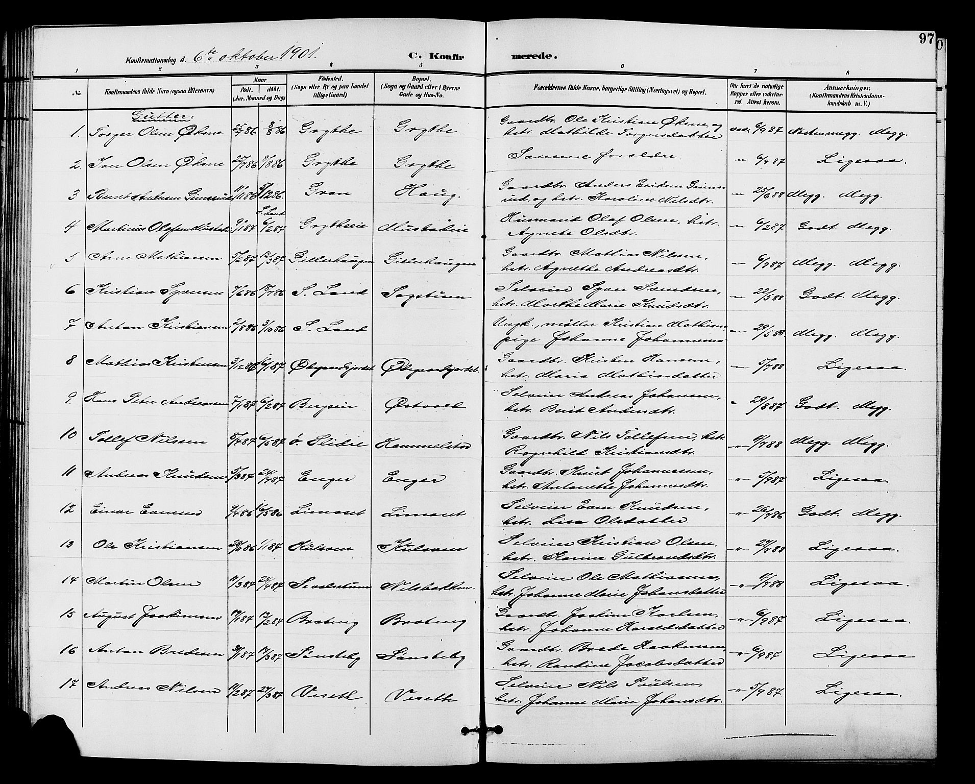SAH, Vardal prestekontor, H/Ha/Hab/L0011: Klokkerbok nr. 11, 1899-1913, s. 97