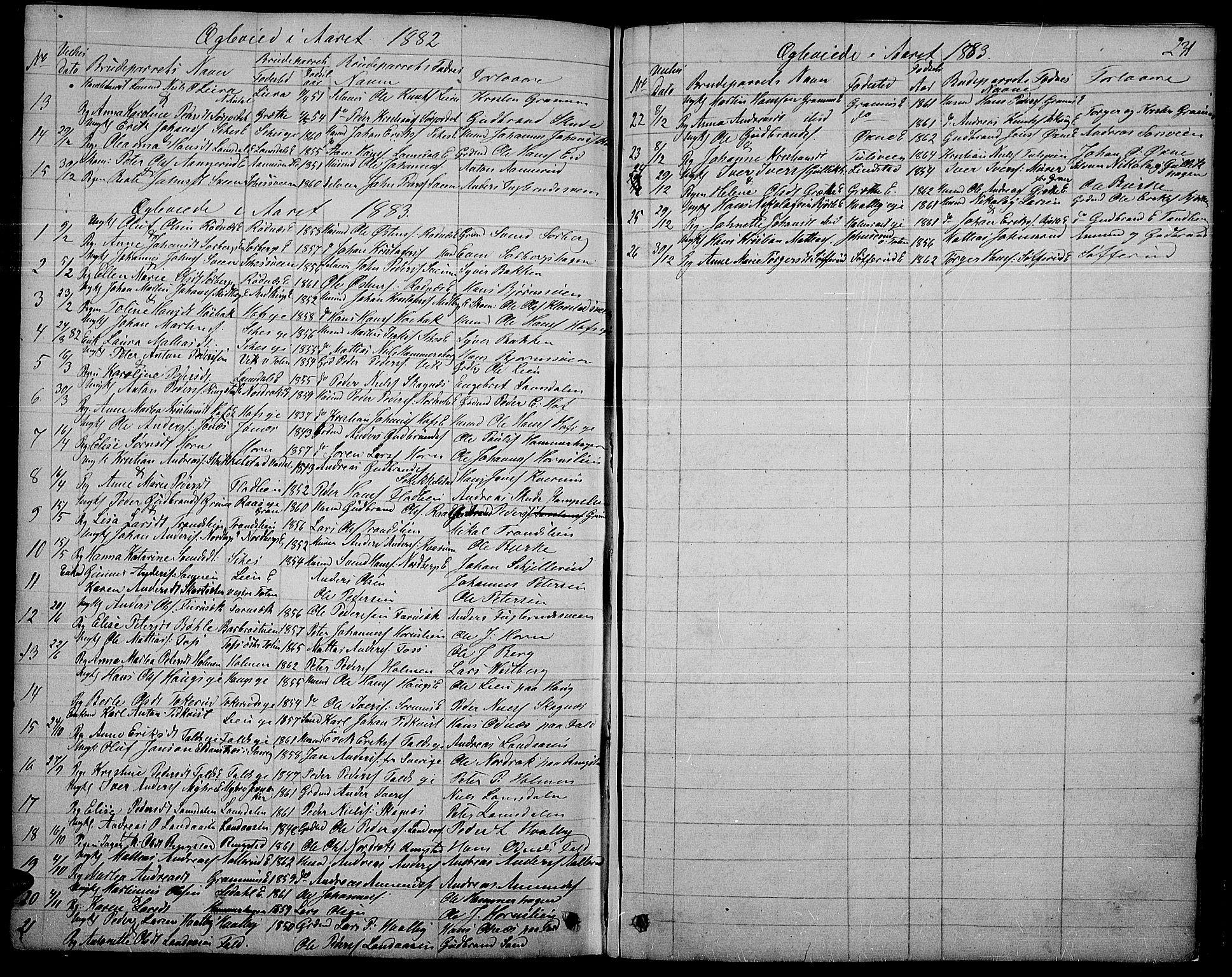 SAH, Søndre Land prestekontor, L/L0001: Klokkerbok nr. 1, 1849-1883, s. 231