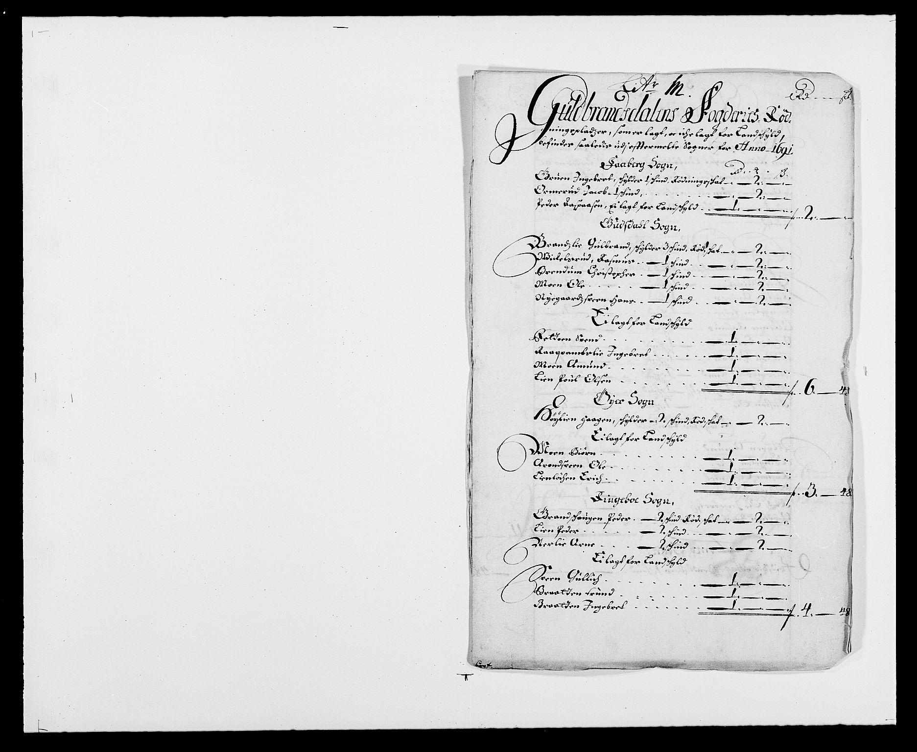RA, Rentekammeret inntil 1814, Reviderte regnskaper, Fogderegnskap, R17/L1165: Fogderegnskap Gudbrandsdal, 1690-1692, s. 207