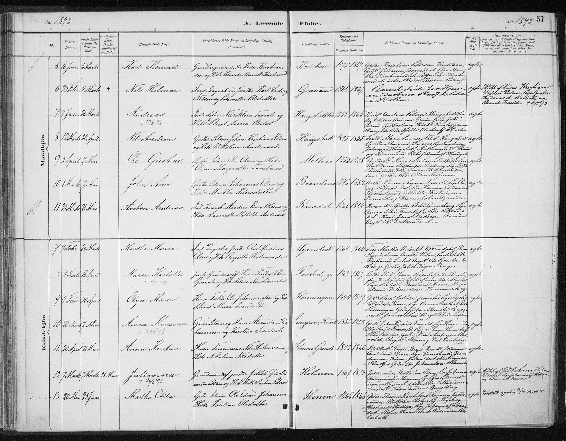 SAT, Ministerialprotokoller, klokkerbøker og fødselsregistre - Nord-Trøndelag, 701/L0010: Ministerialbok nr. 701A10, 1883-1899, s. 57