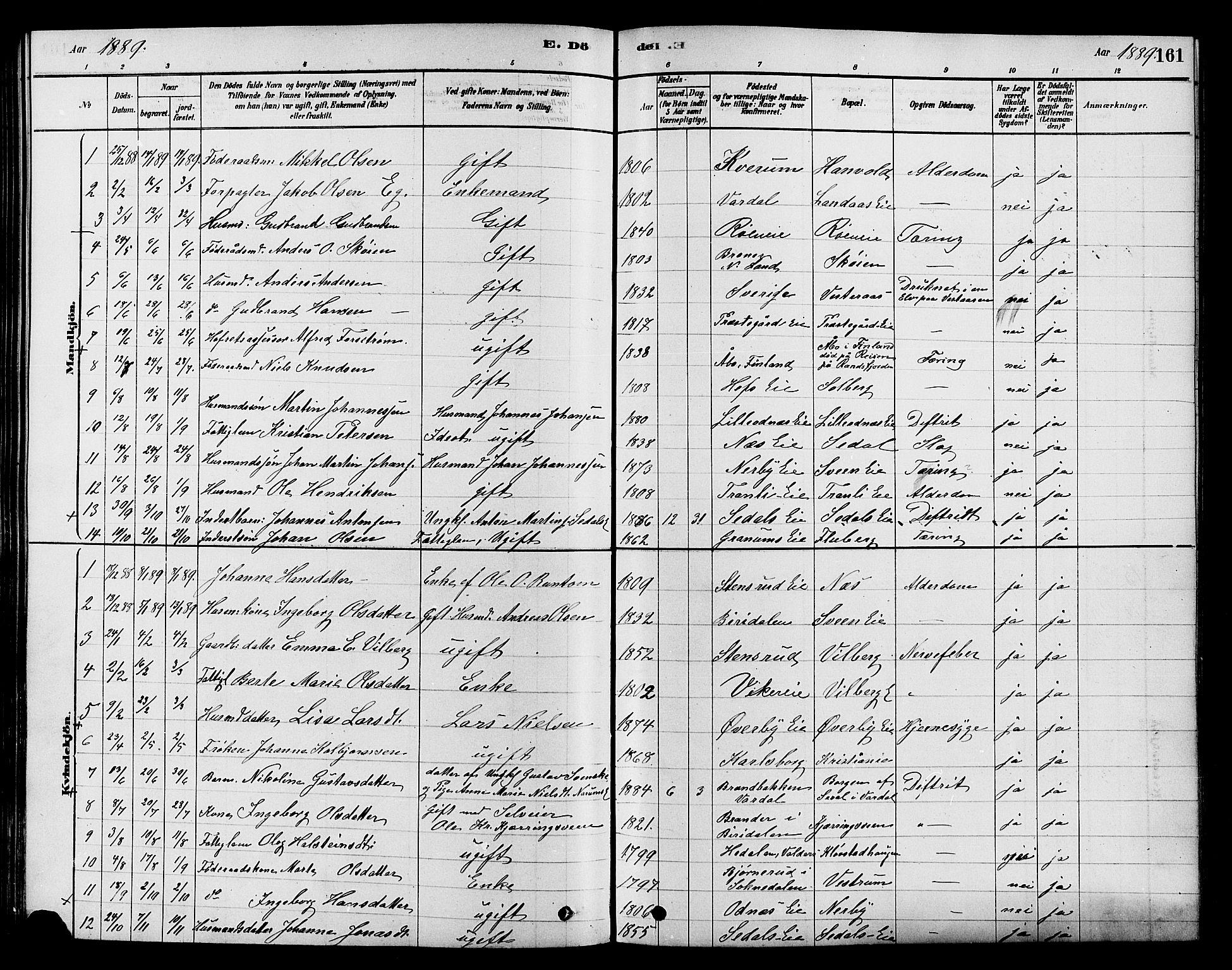 SAH, Søndre Land prestekontor, K/L0002: Ministerialbok nr. 2, 1878-1894, s. 161