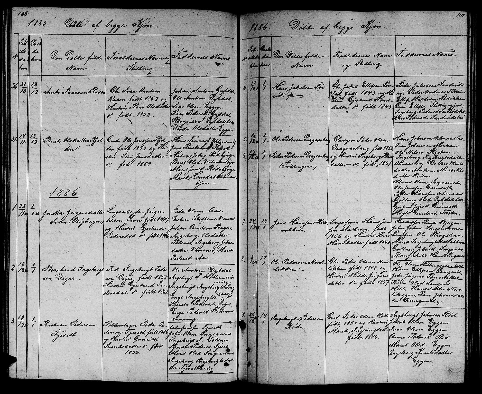 SAT, Ministerialprotokoller, klokkerbøker og fødselsregistre - Sør-Trøndelag, 688/L1027: Klokkerbok nr. 688C02, 1861-1889, s. 166-167