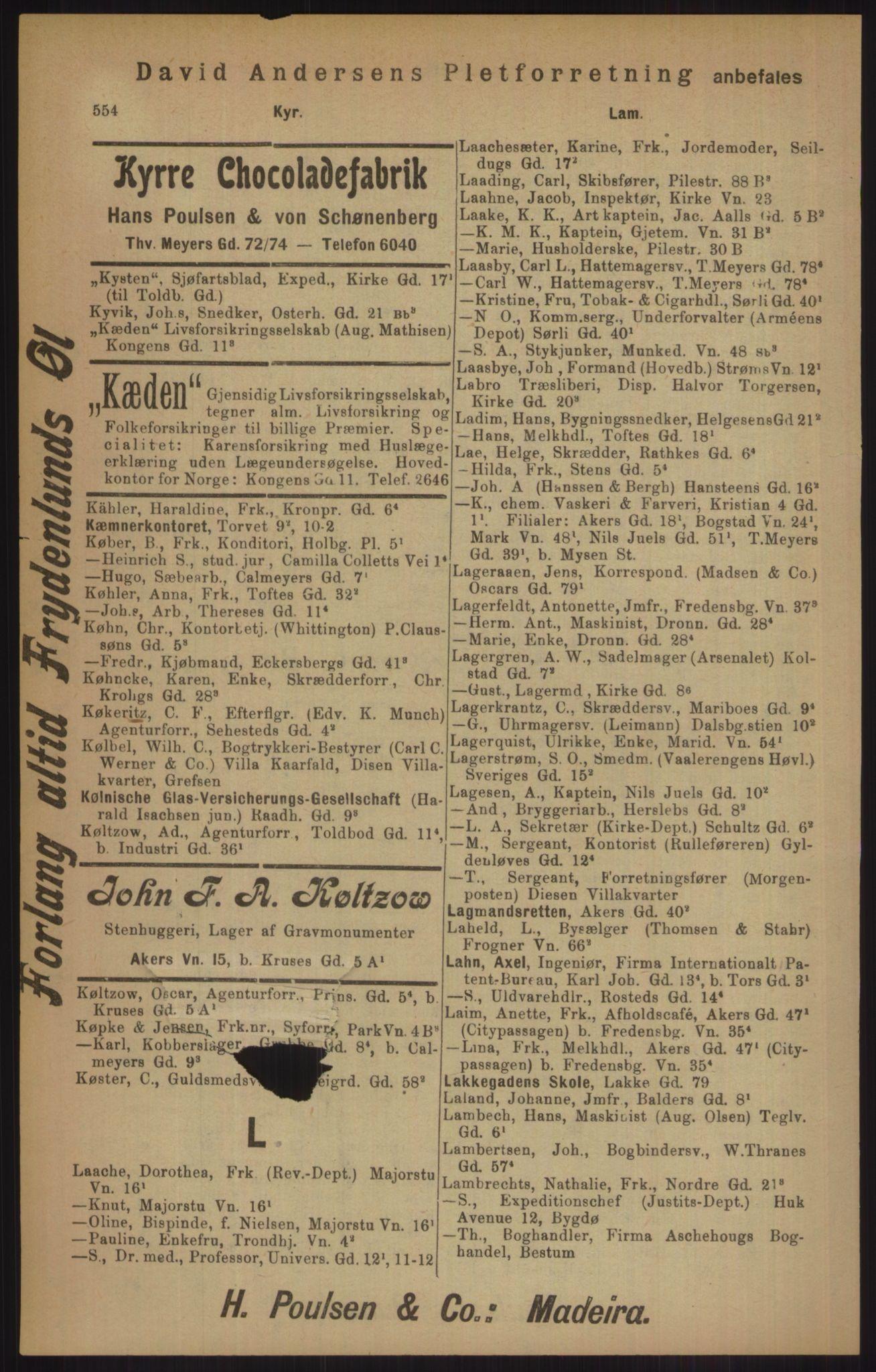 RA, Kristiania adressebok (publikasjon)*, 1905, s. 554