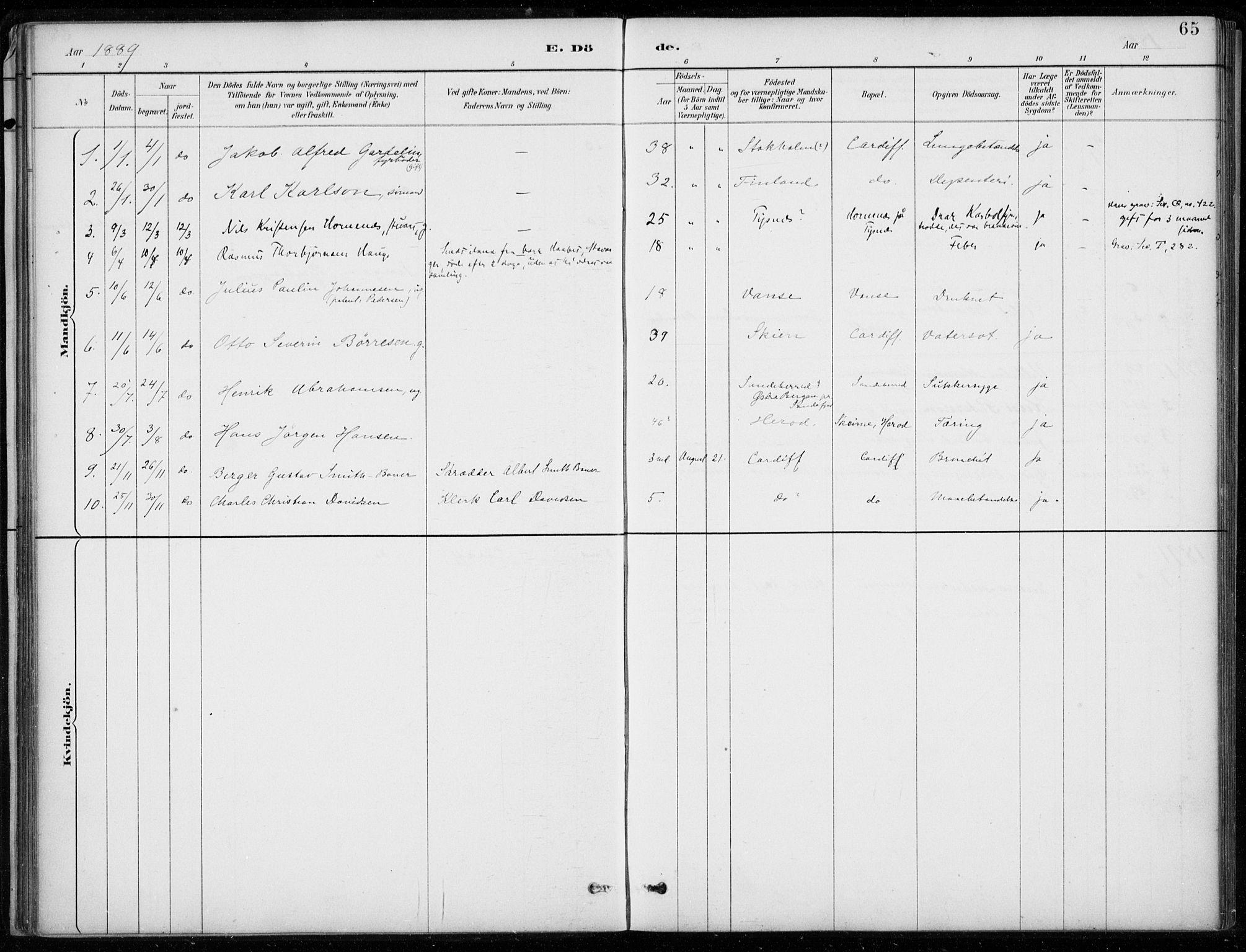 SAB, Den Norske Sjømannsmisjon i utlandet*, Ministerialbok nr. A 2, 1887-1932, s. 65