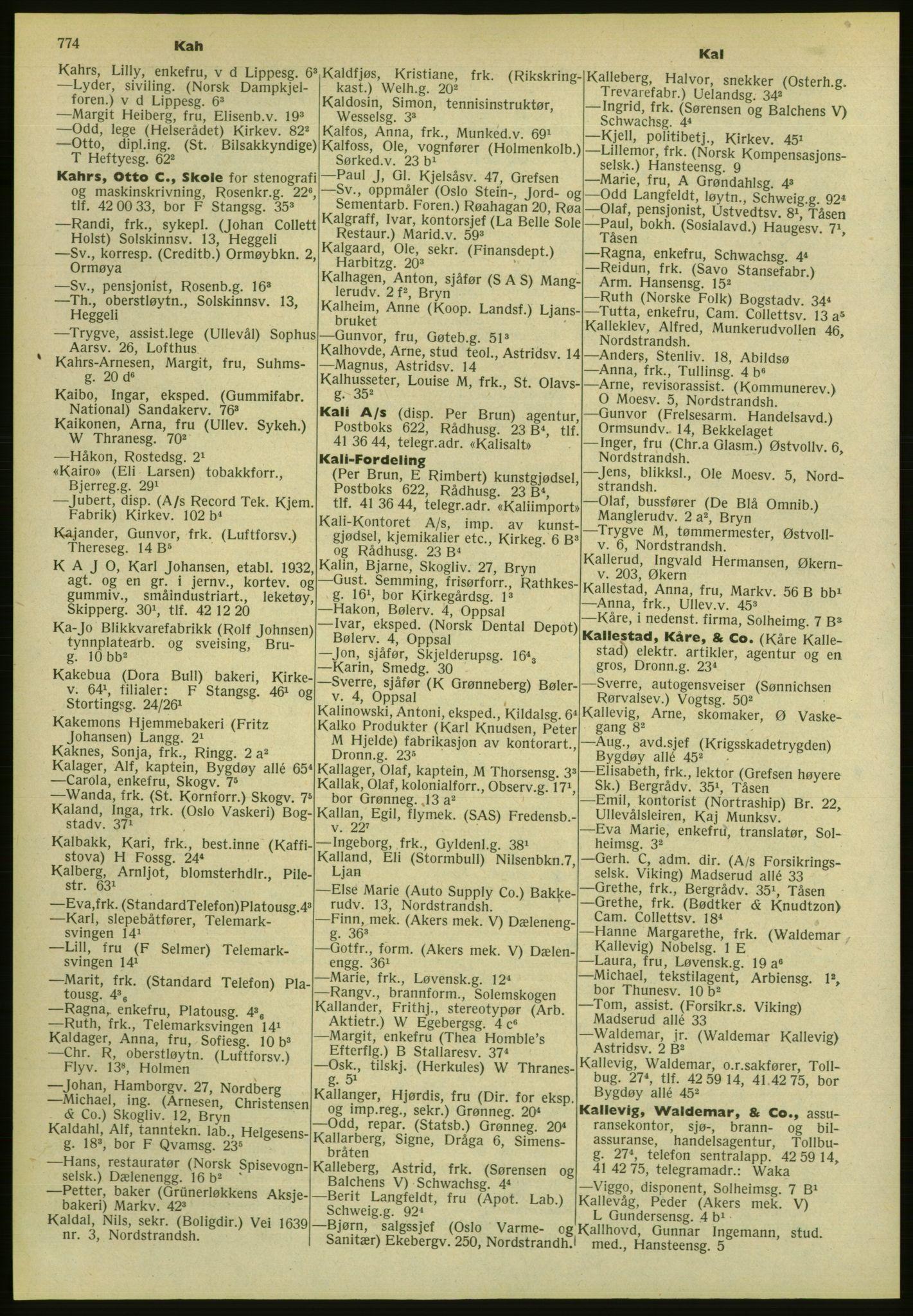 PUBL, Kristiania/Oslo adressebok, 1952, s. 774