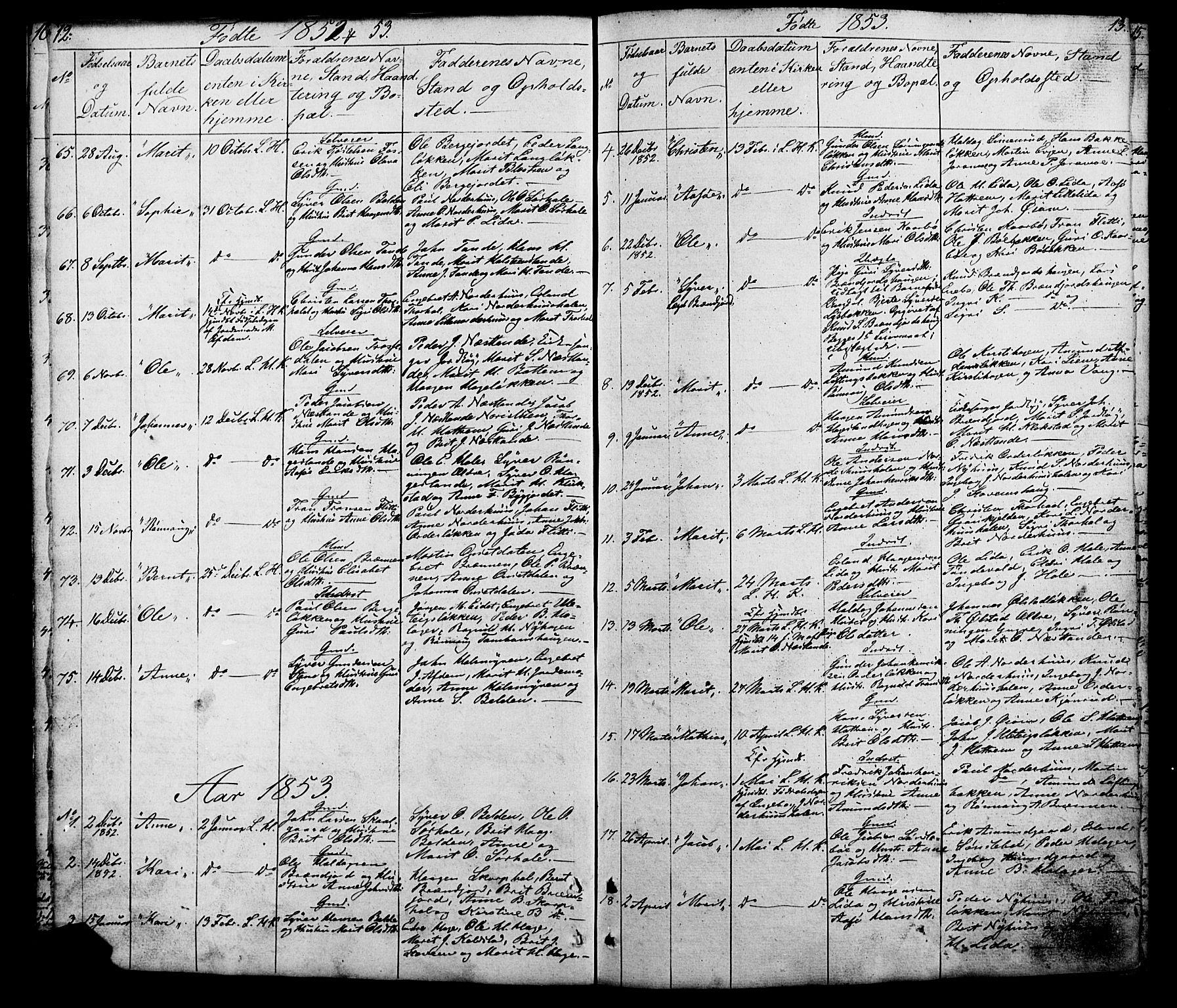 SAH, Lesja prestekontor, Klokkerbok nr. 5, 1850-1894, s. 12-13
