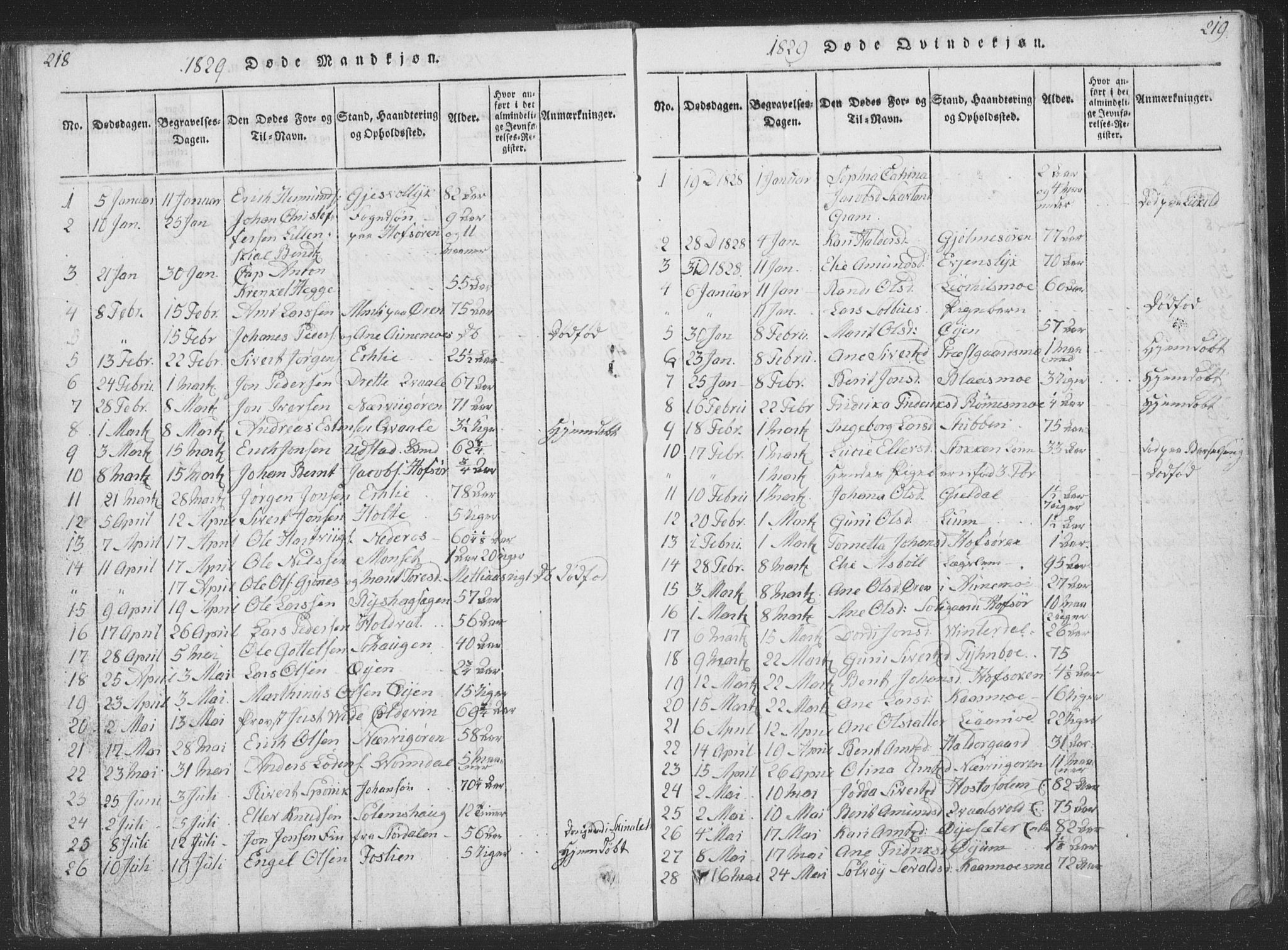 SAT, Ministerialprotokoller, klokkerbøker og fødselsregistre - Sør-Trøndelag, 668/L0816: Klokkerbok nr. 668C05, 1816-1893, s. 218-219