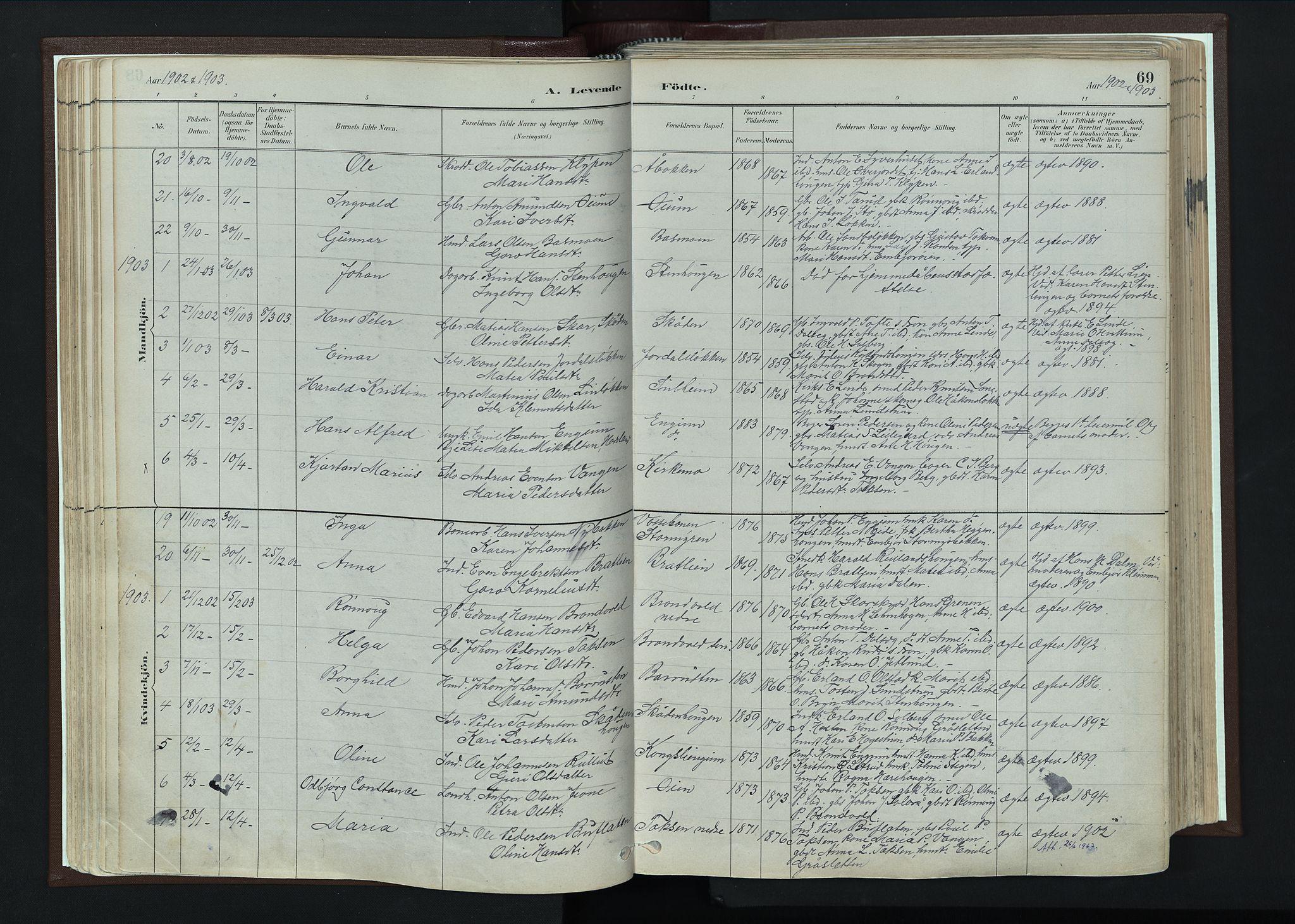 SAH, Nord-Fron prestekontor, Ministerialbok nr. 4, 1884-1914, s. 69