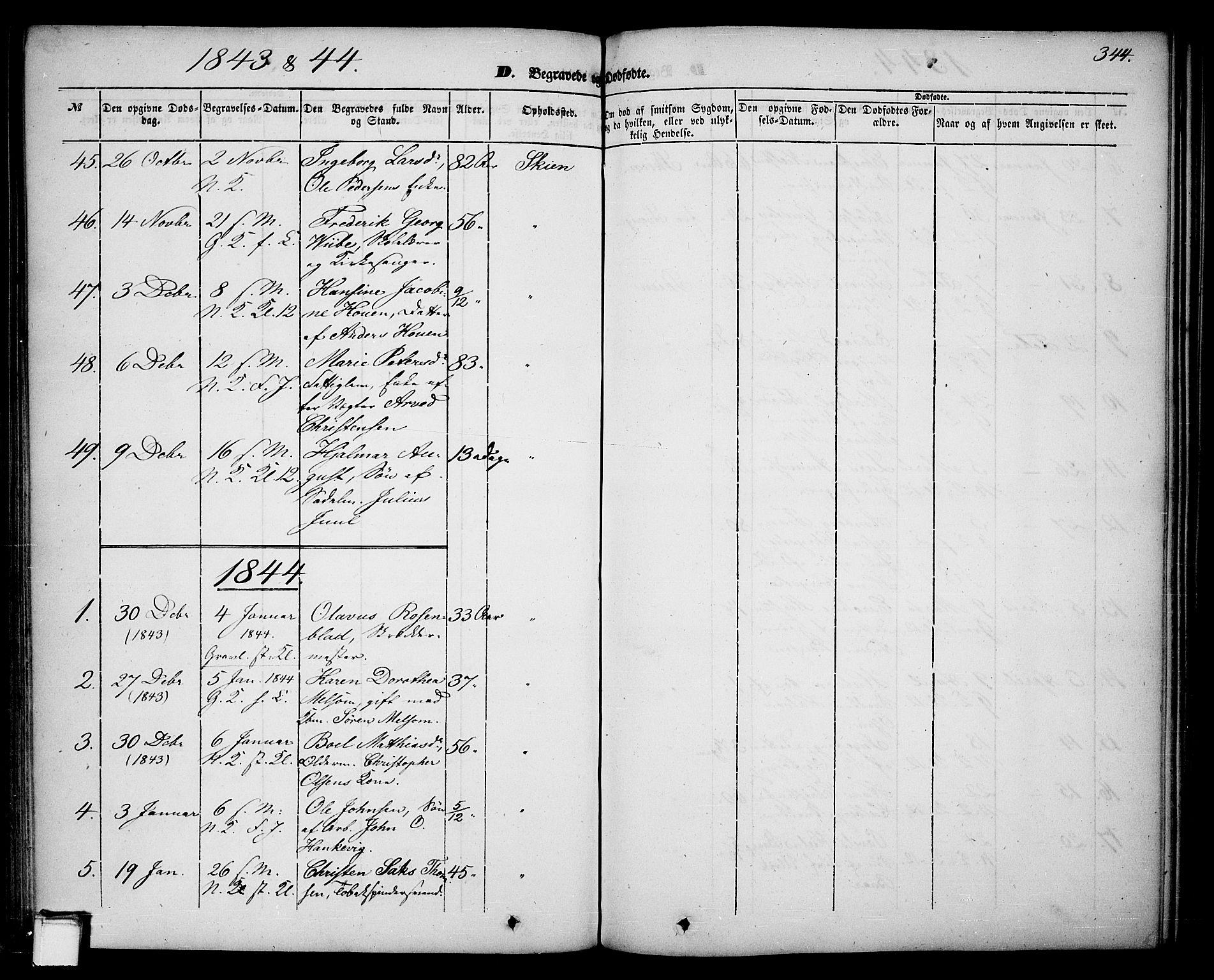 SAKO, Skien kirkebøker, G/Ga/L0004: Klokkerbok nr. 4, 1843-1867, s. 344