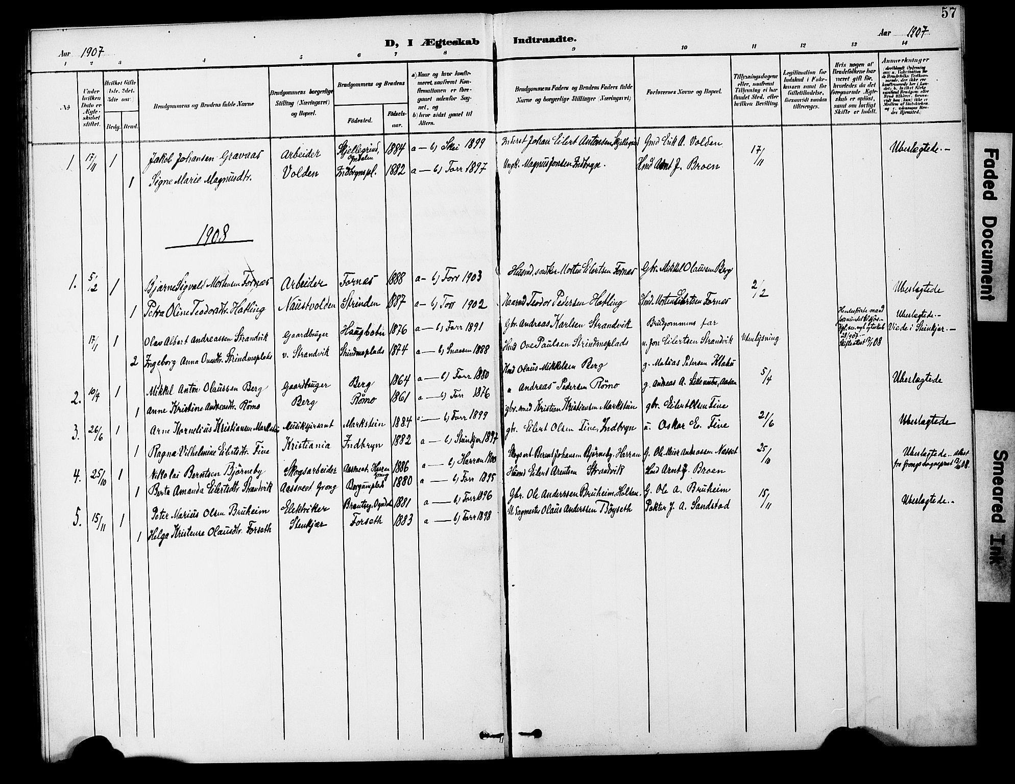 SAT, Ministerialprotokoller, klokkerbøker og fødselsregistre - Nord-Trøndelag, 746/L0452: Ministerialbok nr. 746A09, 1900-1908, s. 57