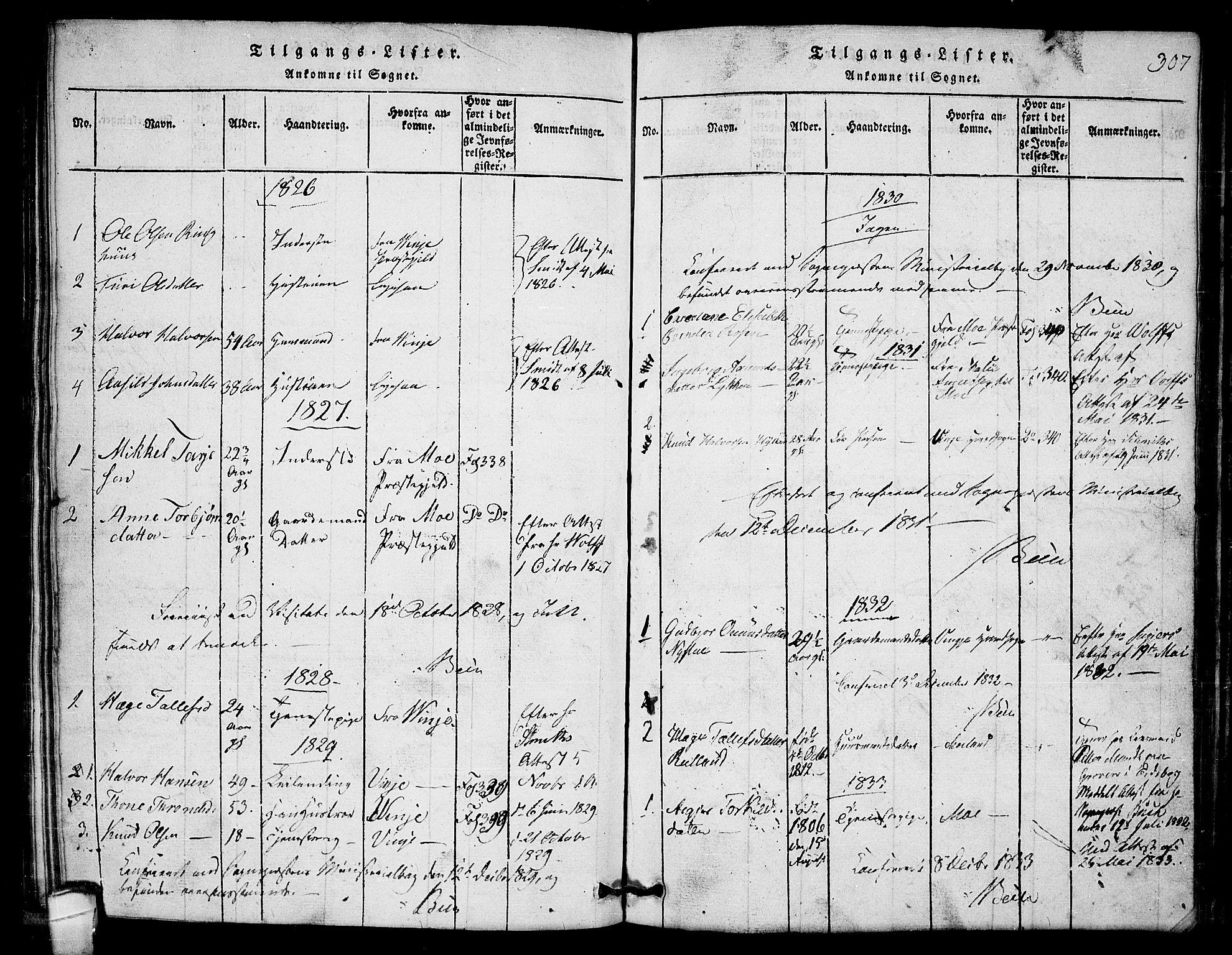 SAKO, Lårdal kirkebøker, G/Gb/L0001: Klokkerbok nr. II 1, 1815-1865, s. 307
