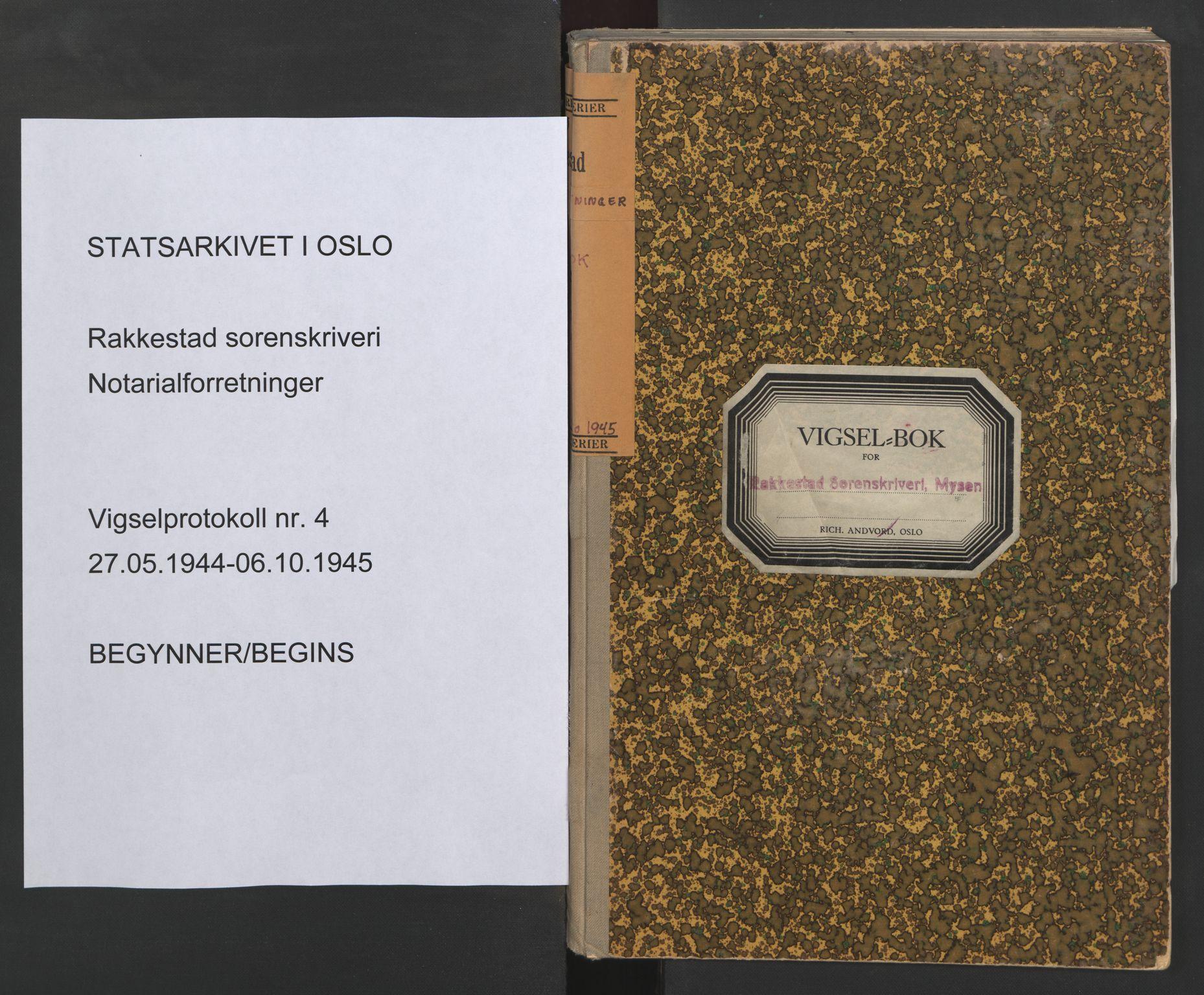 SAO, Rakkestad sorenskriveri, L/Lc/Lca/L0004: Vigselbøker, 1944-1945, s. upaginert