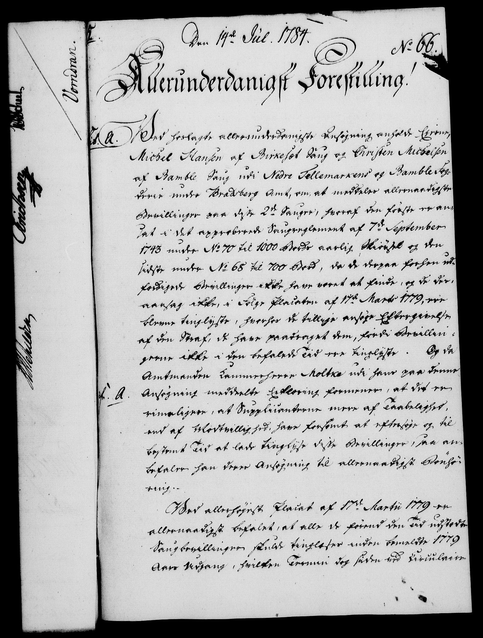 RA, Rentekammeret, Kammerkanselliet, G/Gf/Gfa/L0066: Norsk relasjons- og resolusjonsprotokoll (merket RK 52.66), 1784, s. 485