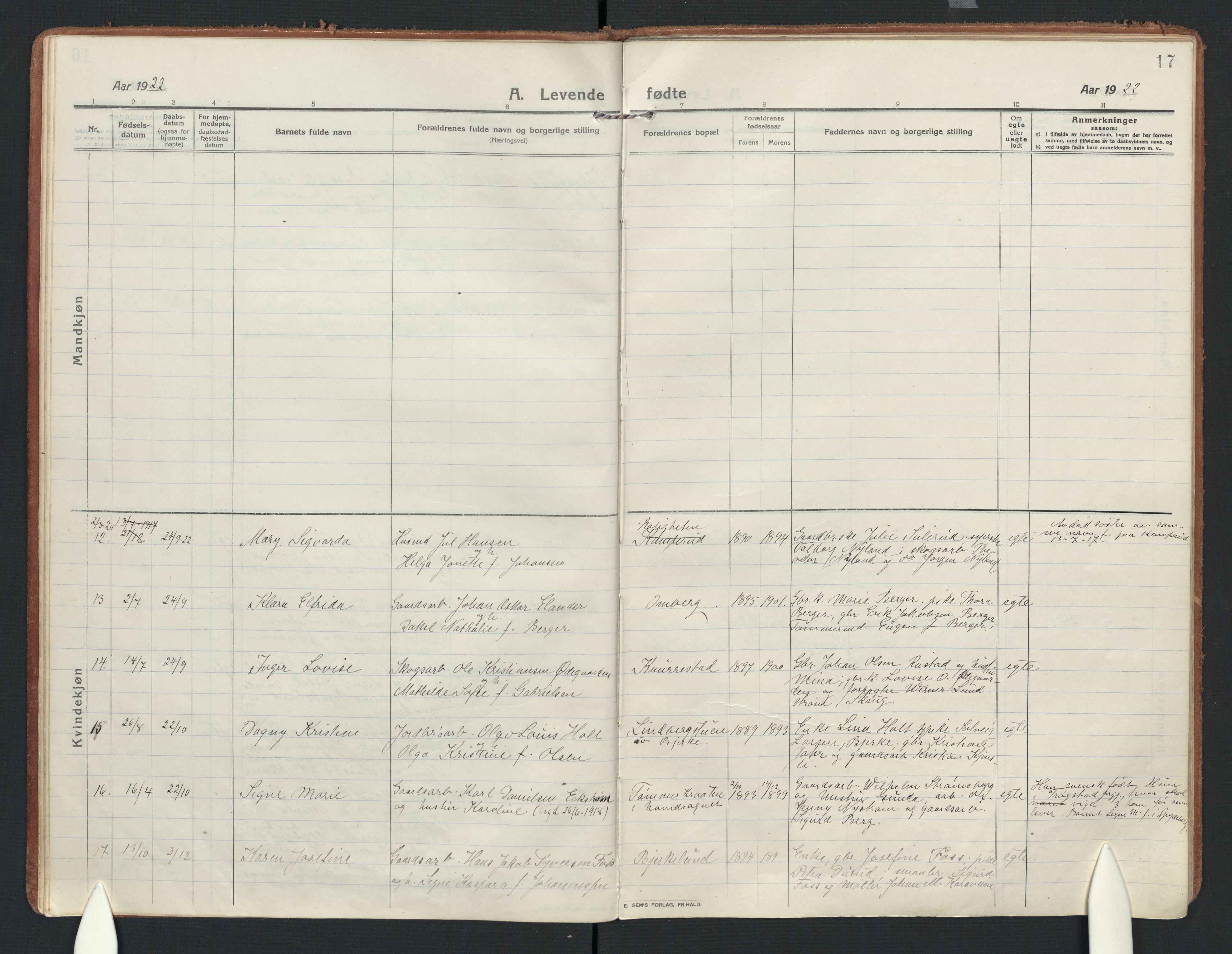 SAO, Enebakk prestekontor Kirkebøker, F/Fb/L0003: Ministerialbok nr. II 3, 1912-1946, s. 17