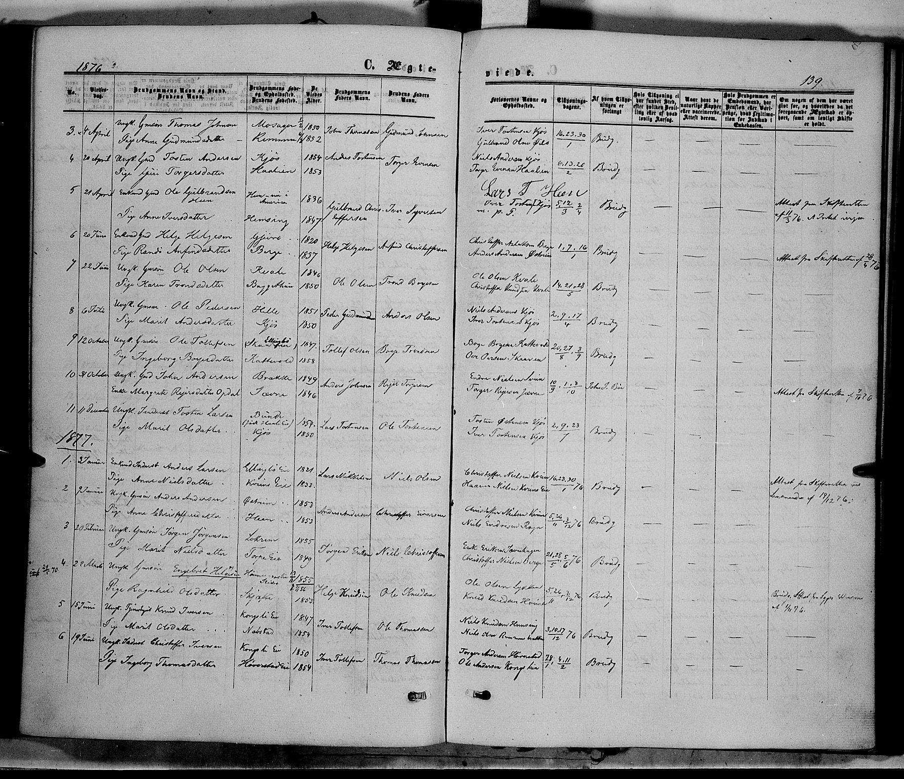 SAH, Vang prestekontor, Valdres, Ministerialbok nr. 7, 1865-1881, s. 139