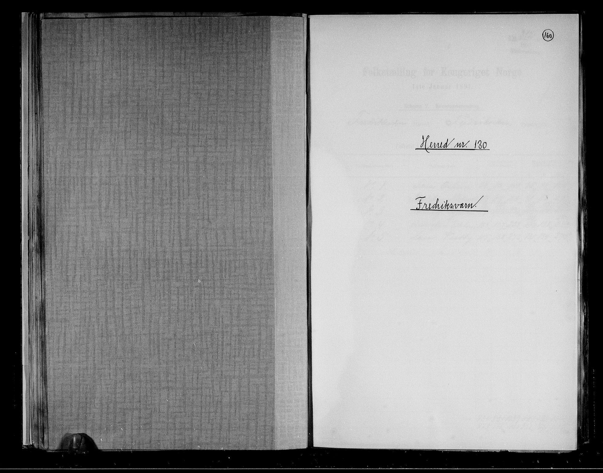 RA, Folketelling 1891 for 0798 Fredriksvern herred, 1891, s. 1