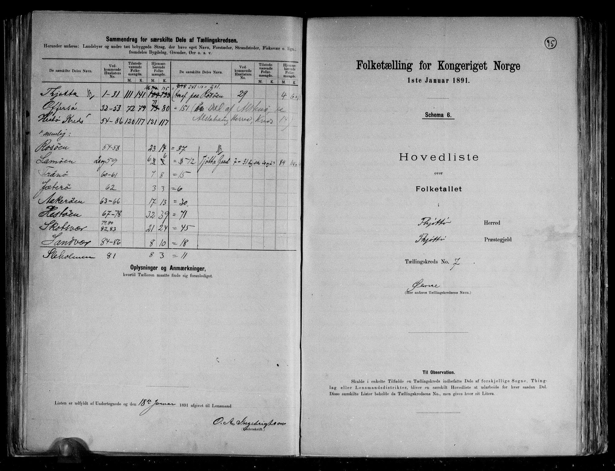 RA, Folketelling 1891 for 1817 Tjøtta herred, 1891, s. 19