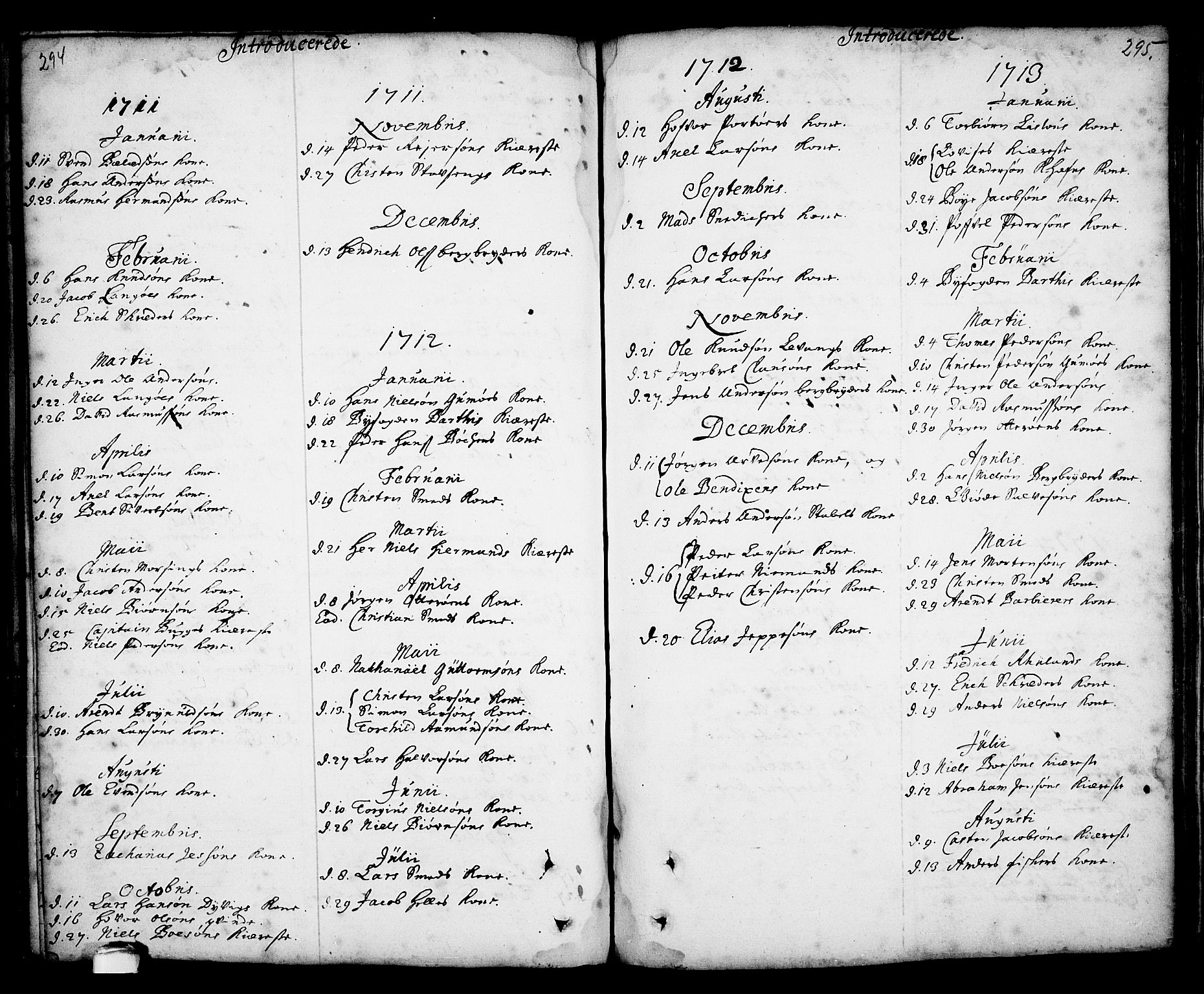 SAKO, Kragerø kirkebøker, F/Fa/L0001: Ministerialbok nr. 1, 1702-1766, s. 294-295