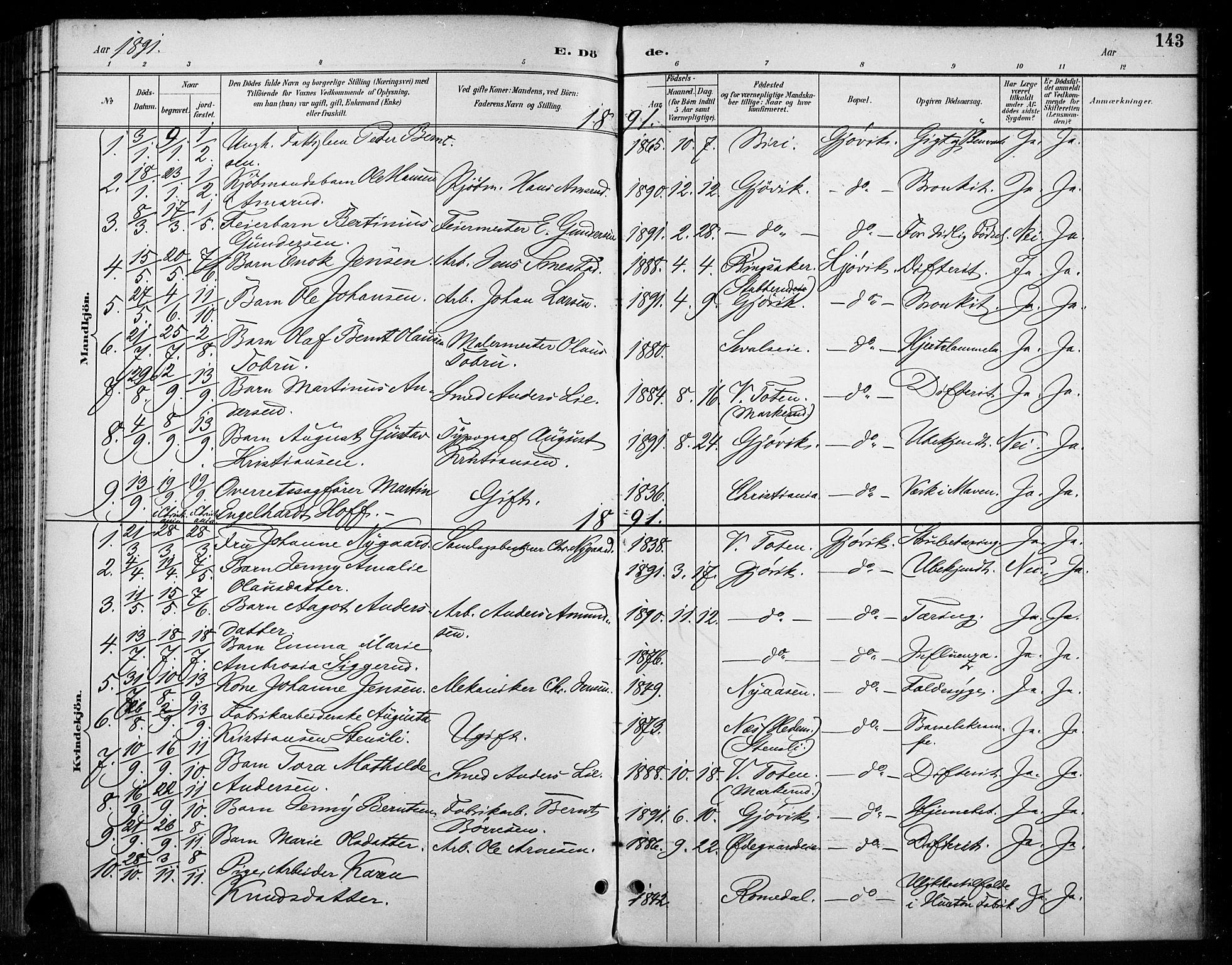 SAH, Vardal prestekontor, H/Ha/Haa/L0011: Ministerialbok nr. 11, 1891-1901, s. 143