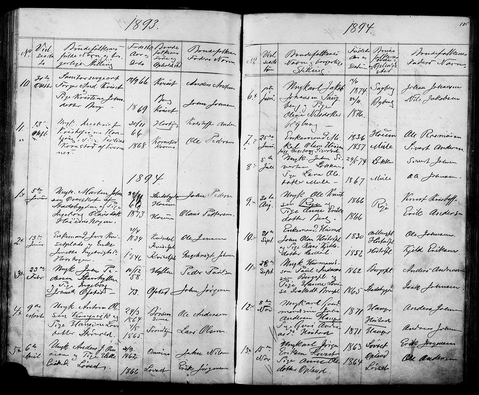 SAT, Ministerialprotokoller, klokkerbøker og fødselsregistre - Sør-Trøndelag, 612/L0387: Klokkerbok nr. 612C03, 1874-1908, s. 185
