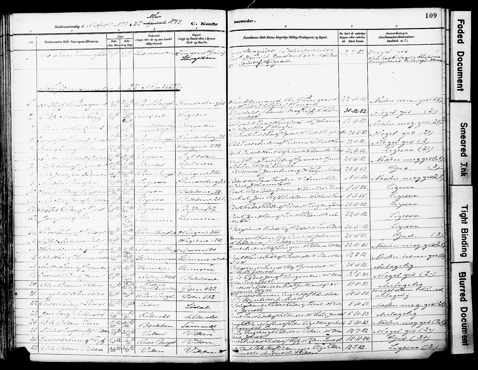 SAT, Ministerialprotokoller, klokkerbøker og fødselsregistre - Sør-Trøndelag, 681/L0935: Ministerialbok nr. 681A13, 1890-1898, s. 109