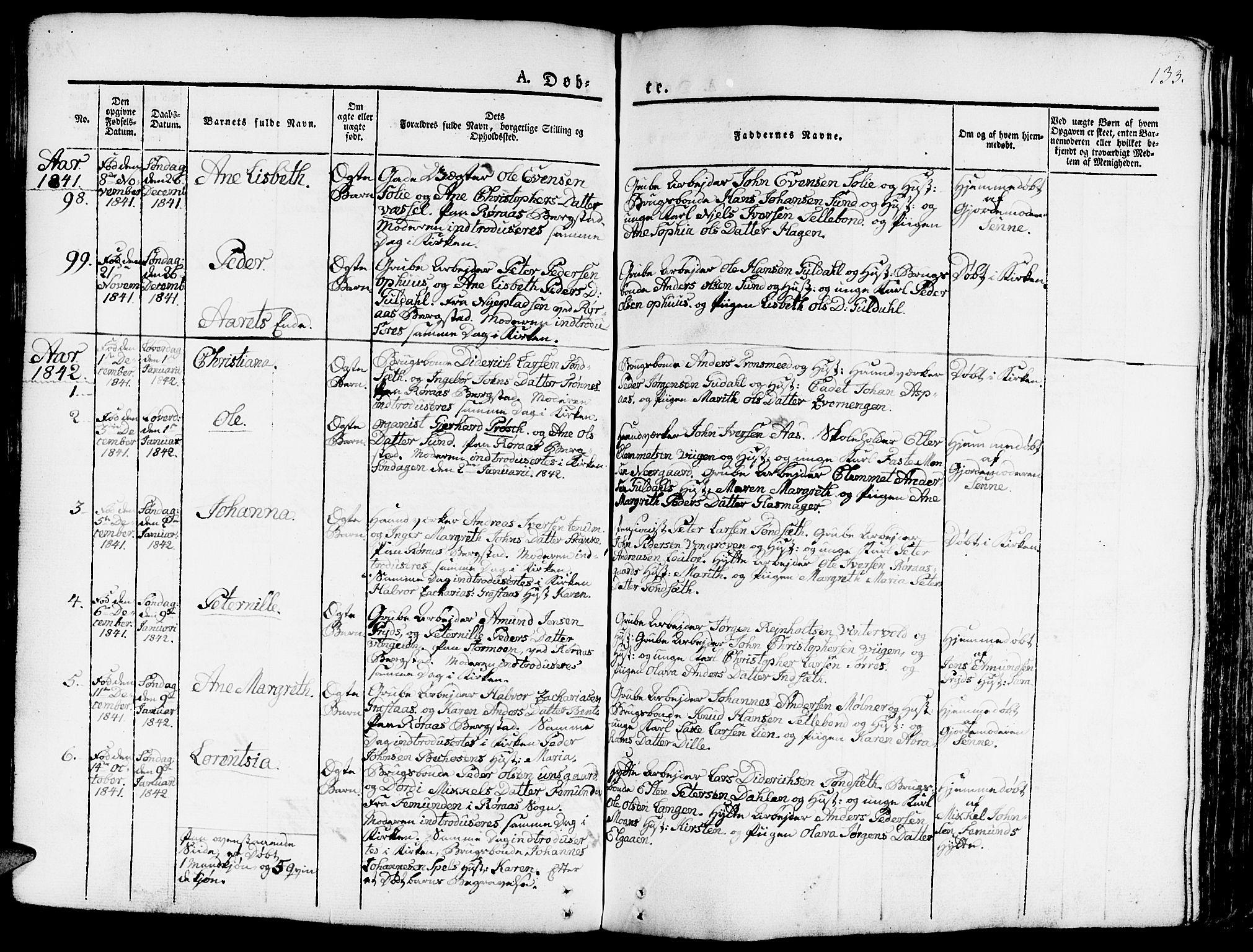 SAT, Ministerialprotokoller, klokkerbøker og fødselsregistre - Sør-Trøndelag, 681/L0938: Klokkerbok nr. 681C02, 1829-1879, s. 133