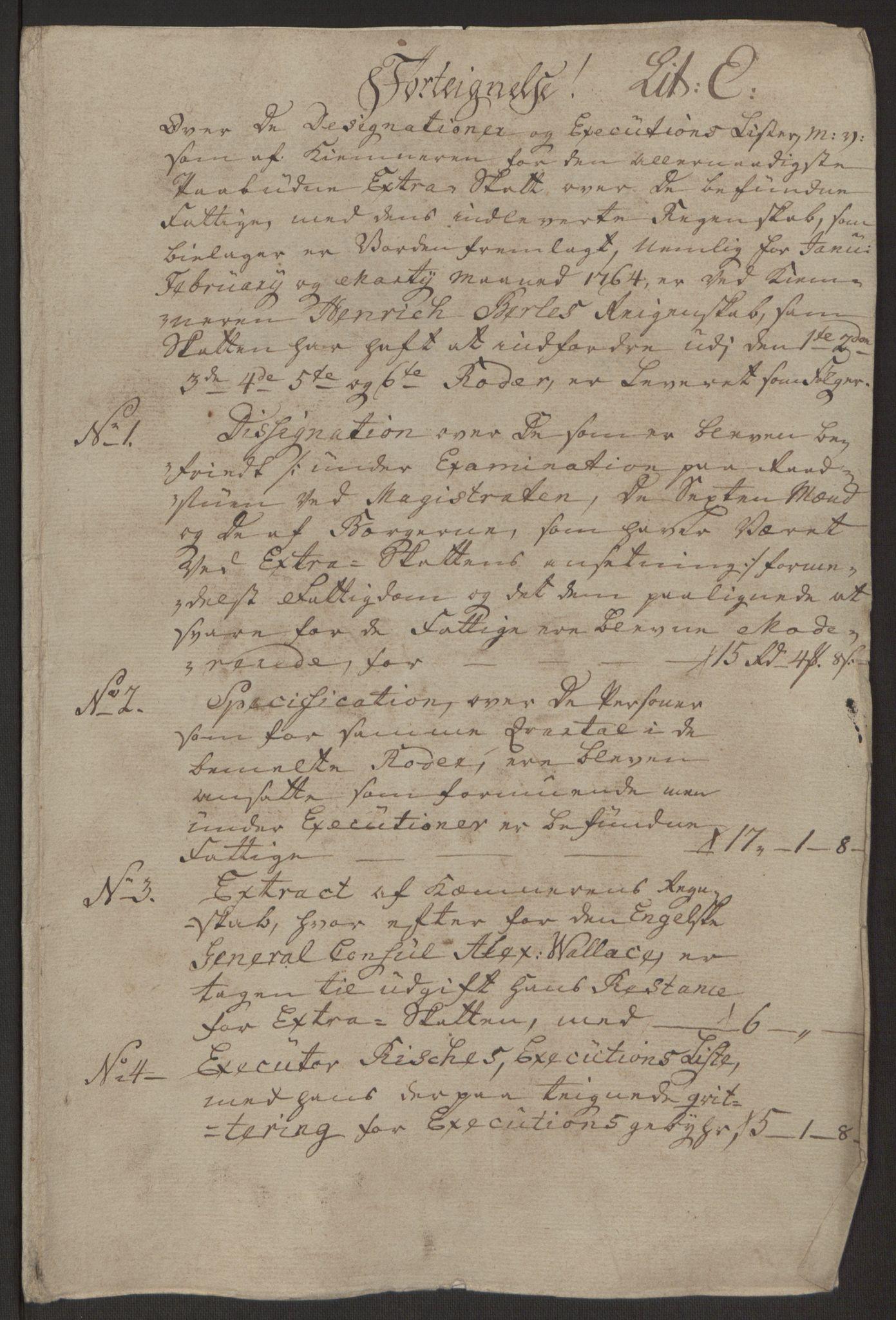 RA, Rentekammeret inntil 1814, Reviderte regnskaper, Byregnskaper, R/Rp/L0367: [P21] Kontribusjonsregnskap, 1764, s. 86