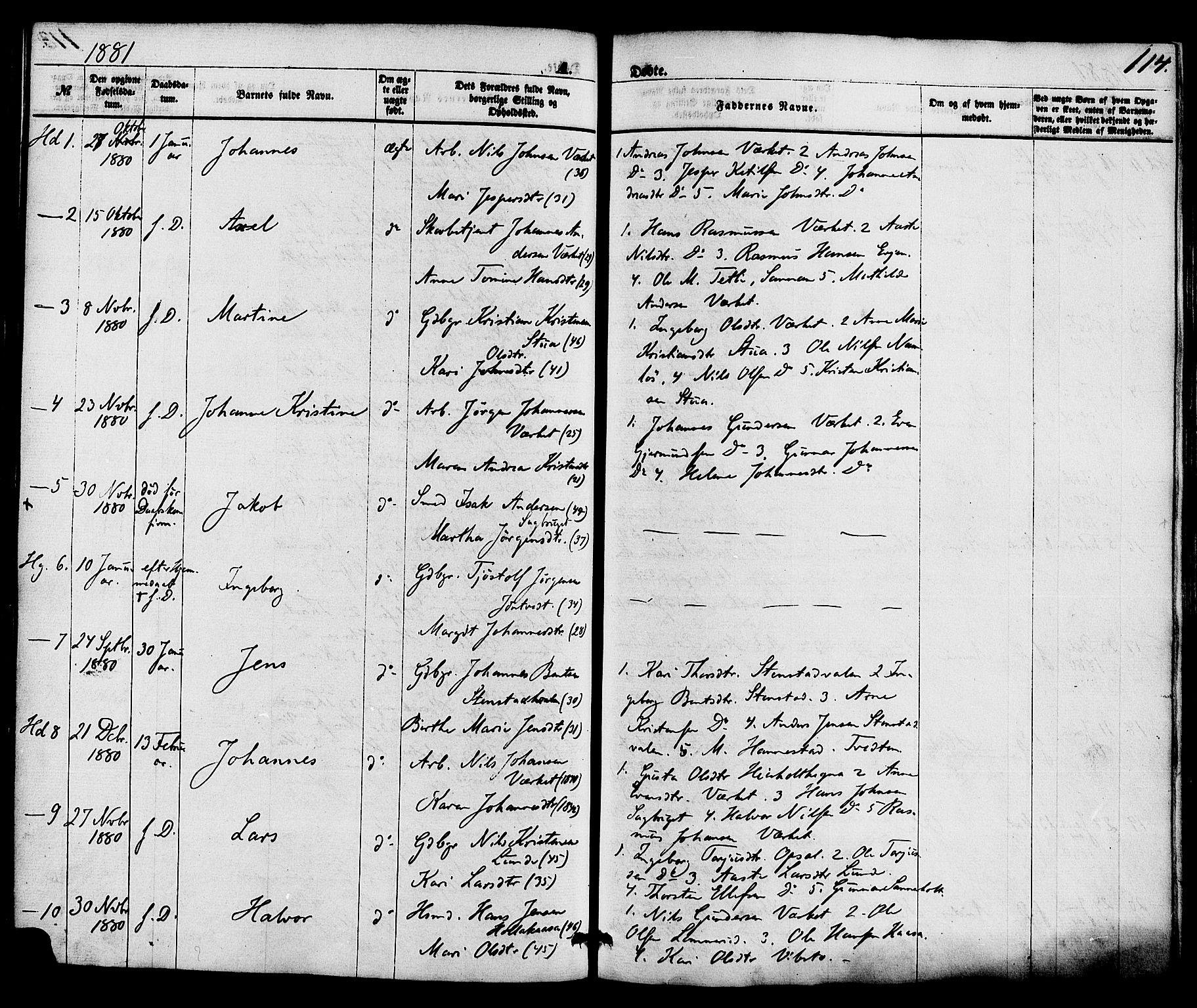 SAKO, Holla kirkebøker, F/Fa/L0007: Ministerialbok nr. 7, 1869-1881, s. 114