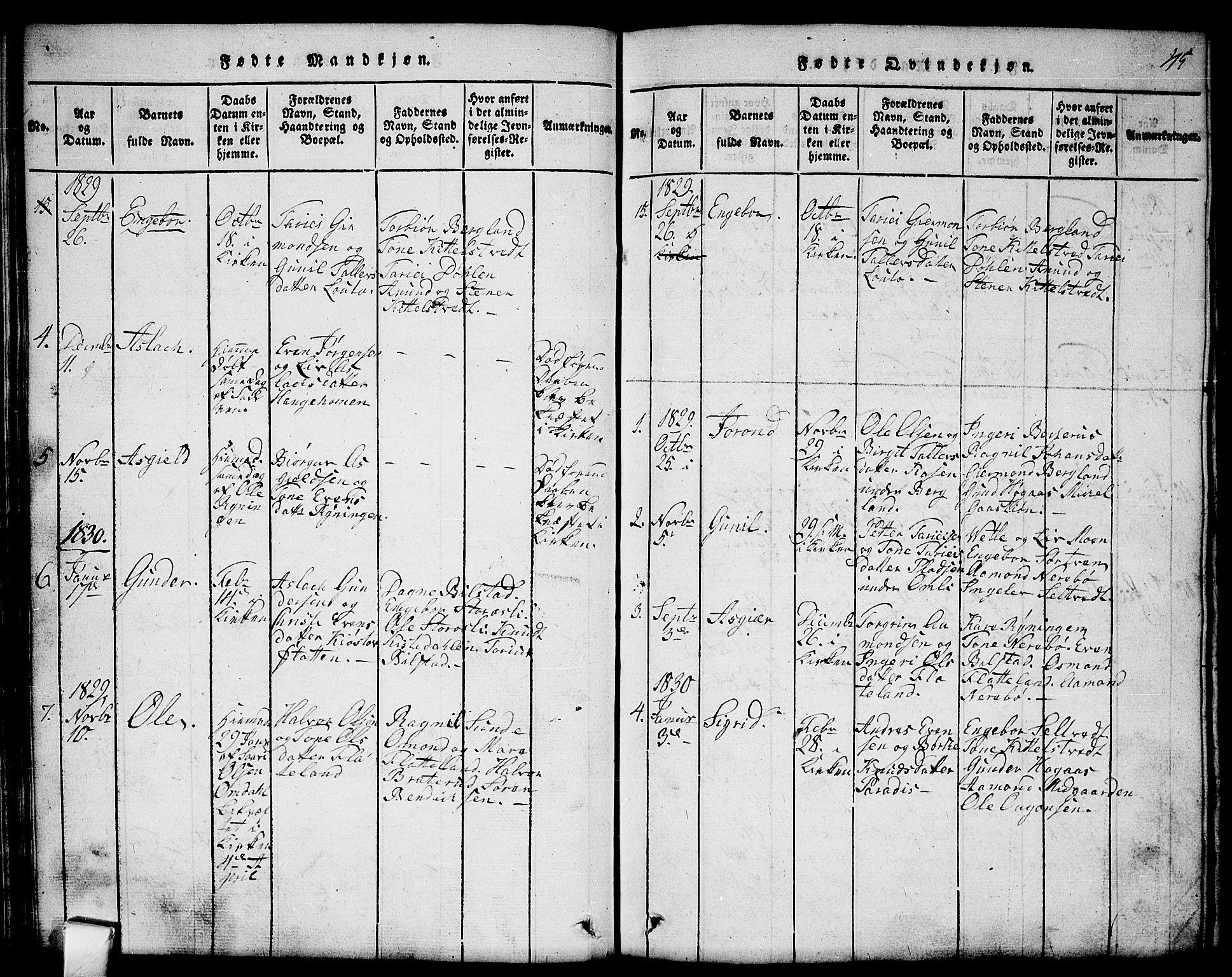 SAKO, Mo kirkebøker, G/Gb/L0001: Klokkerbok nr. II 1, 1814-1843, s. 45