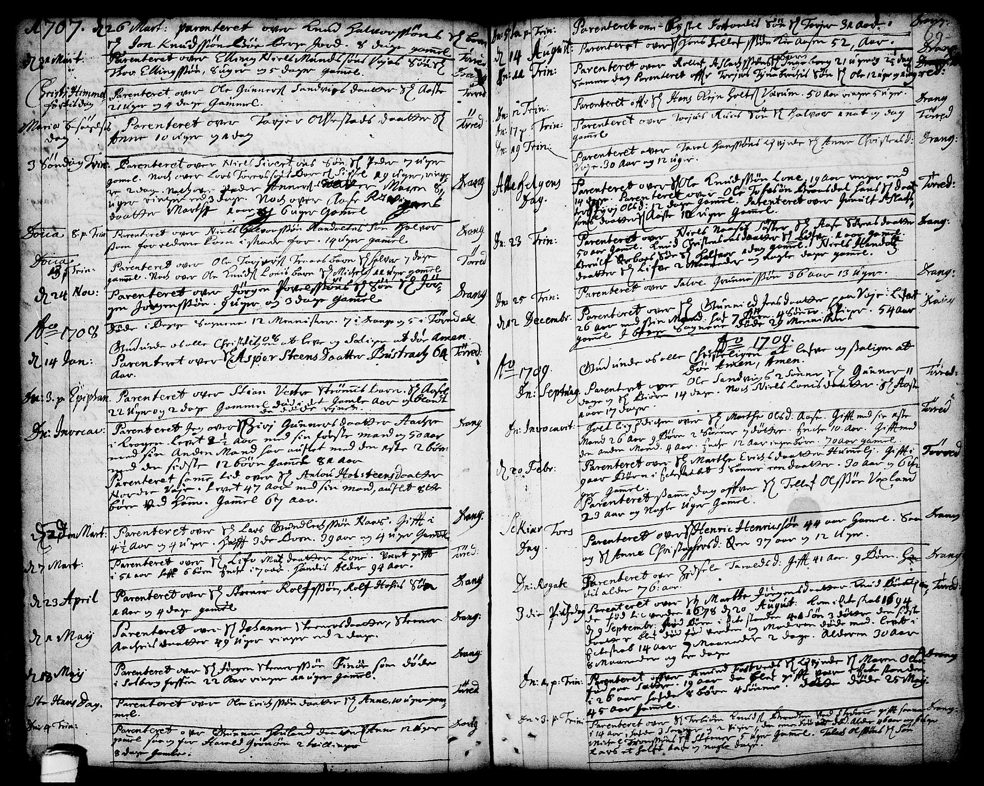 SAKO, Drangedal kirkebøker, F/Fa/L0001: Ministerialbok nr. 1, 1697-1767, s. 69