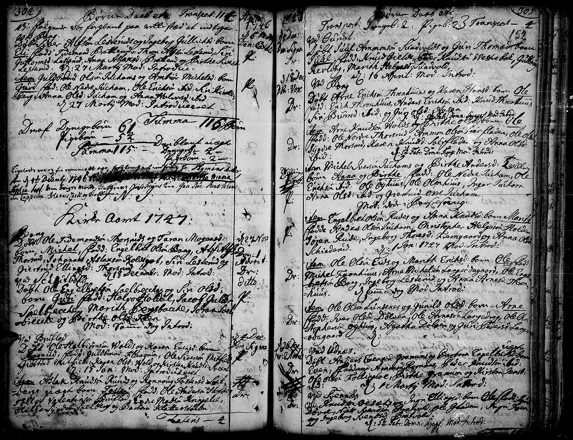SAH, Aurdal prestekontor, Ministerialbok nr. 4, 1730-1762, s. 304-305