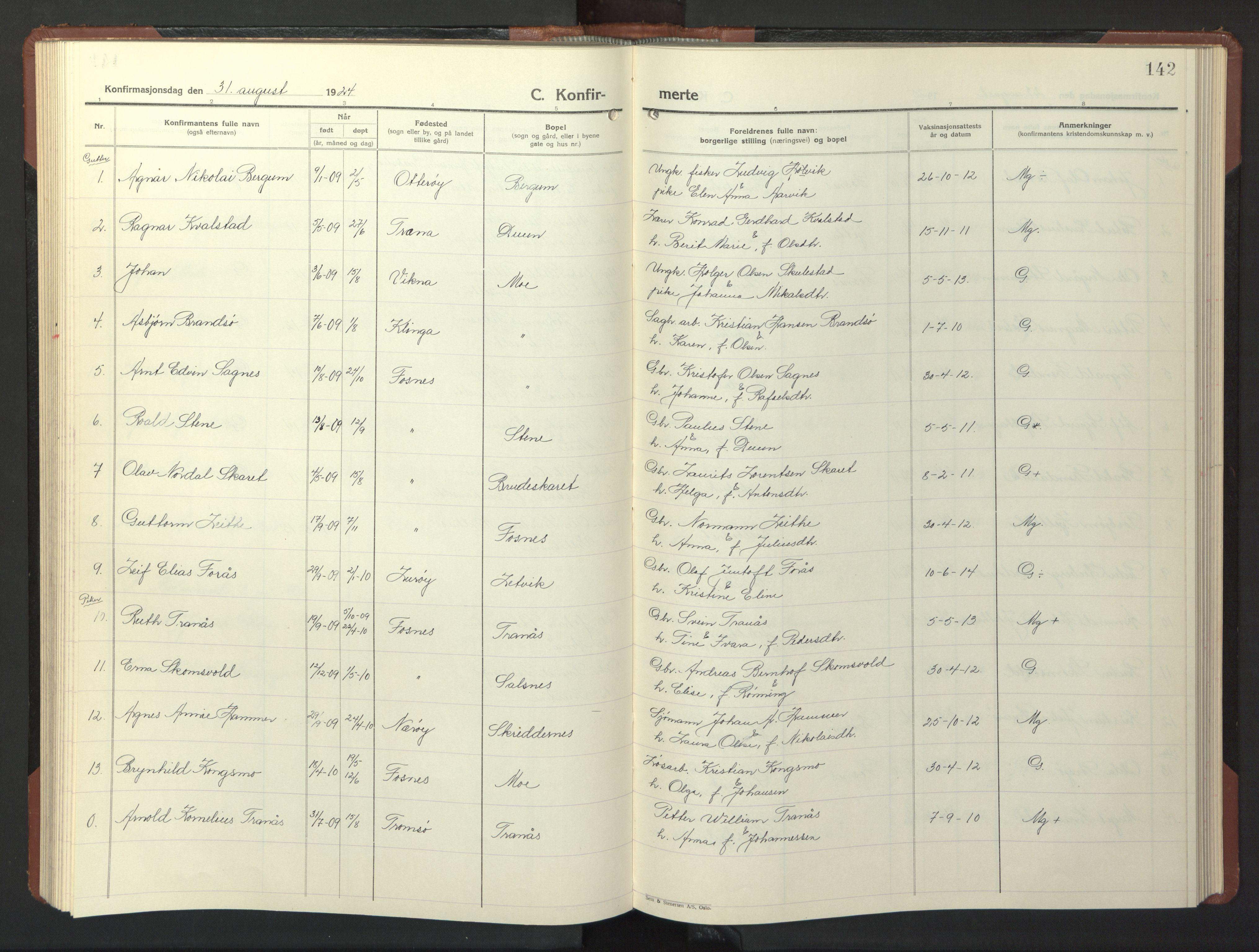 SAT, Ministerialprotokoller, klokkerbøker og fødselsregistre - Nord-Trøndelag, 773/L0625: Klokkerbok nr. 773C01, 1910-1952, s. 142