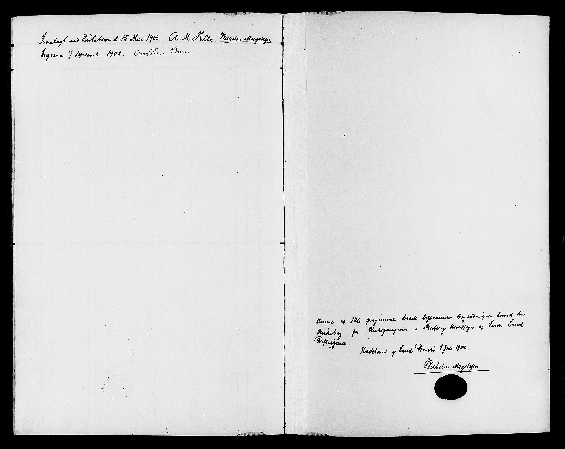 SAH, Søndre Land prestekontor, L/L0005: Klokkerbok nr. 5, 1902-1911