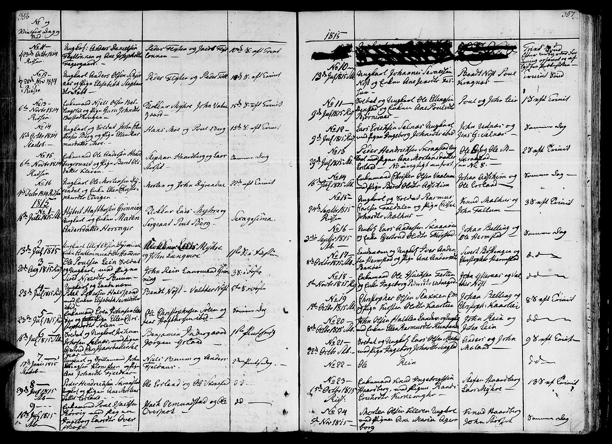 SAT, Ministerialprotokoller, klokkerbøker og fødselsregistre - Sør-Trøndelag, 646/L0607: Ministerialbok nr. 646A05, 1806-1815, s. 356-357