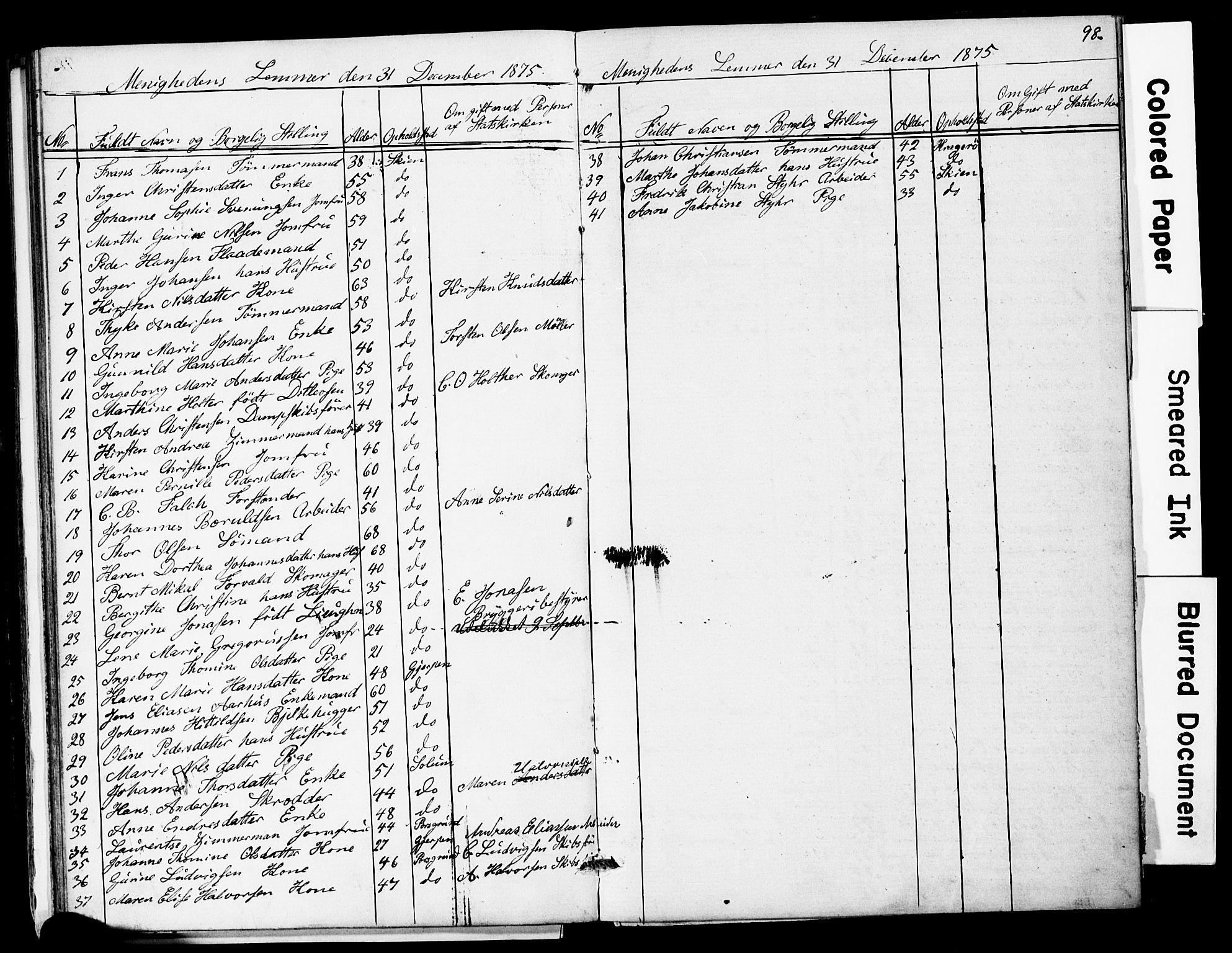 SAKO, Den frie apostolisk-kristelige menighet i Skien, F/Fa/L0001: Dissenterprotokoll nr. 1, 1856-1892, s. 98
