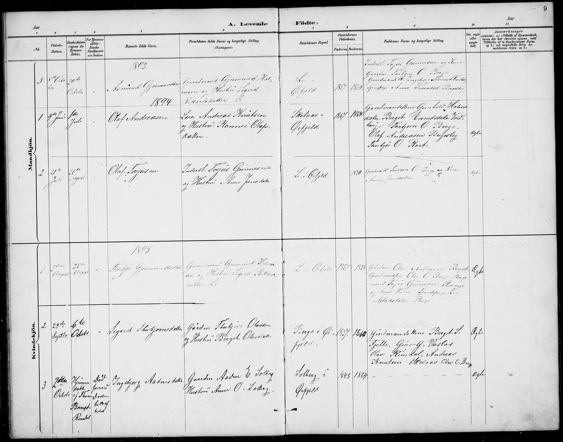 SAKO, Rauland kirkebøker, G/Gb/L0002: Klokkerbok nr. II 2, 1887-1937, s. 9