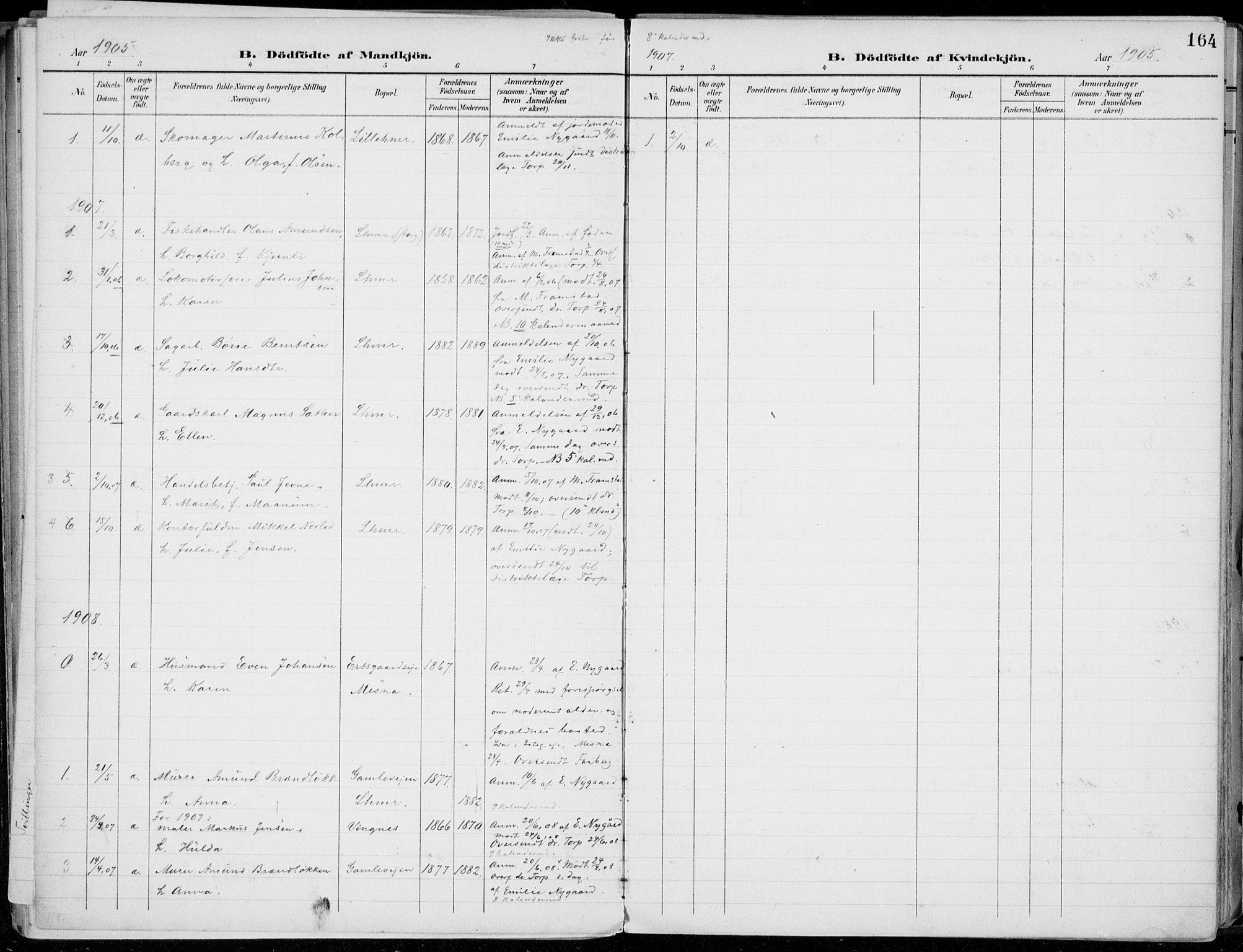 SAH, Lillehammer prestekontor, Ministerialbok nr. 1, 1901-1916, s. 164